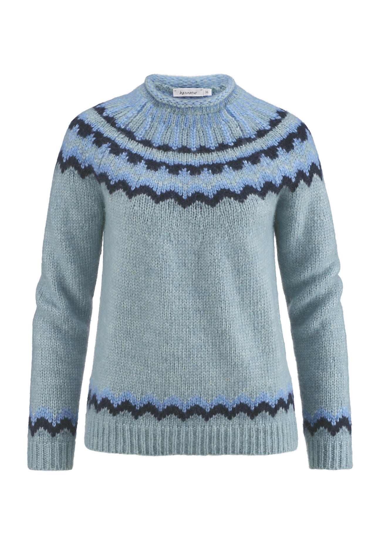 hessnatur Damen Norweger-Pullover aus Alpaka mit Baumwolle und Schurwolle – grün – Größe 46