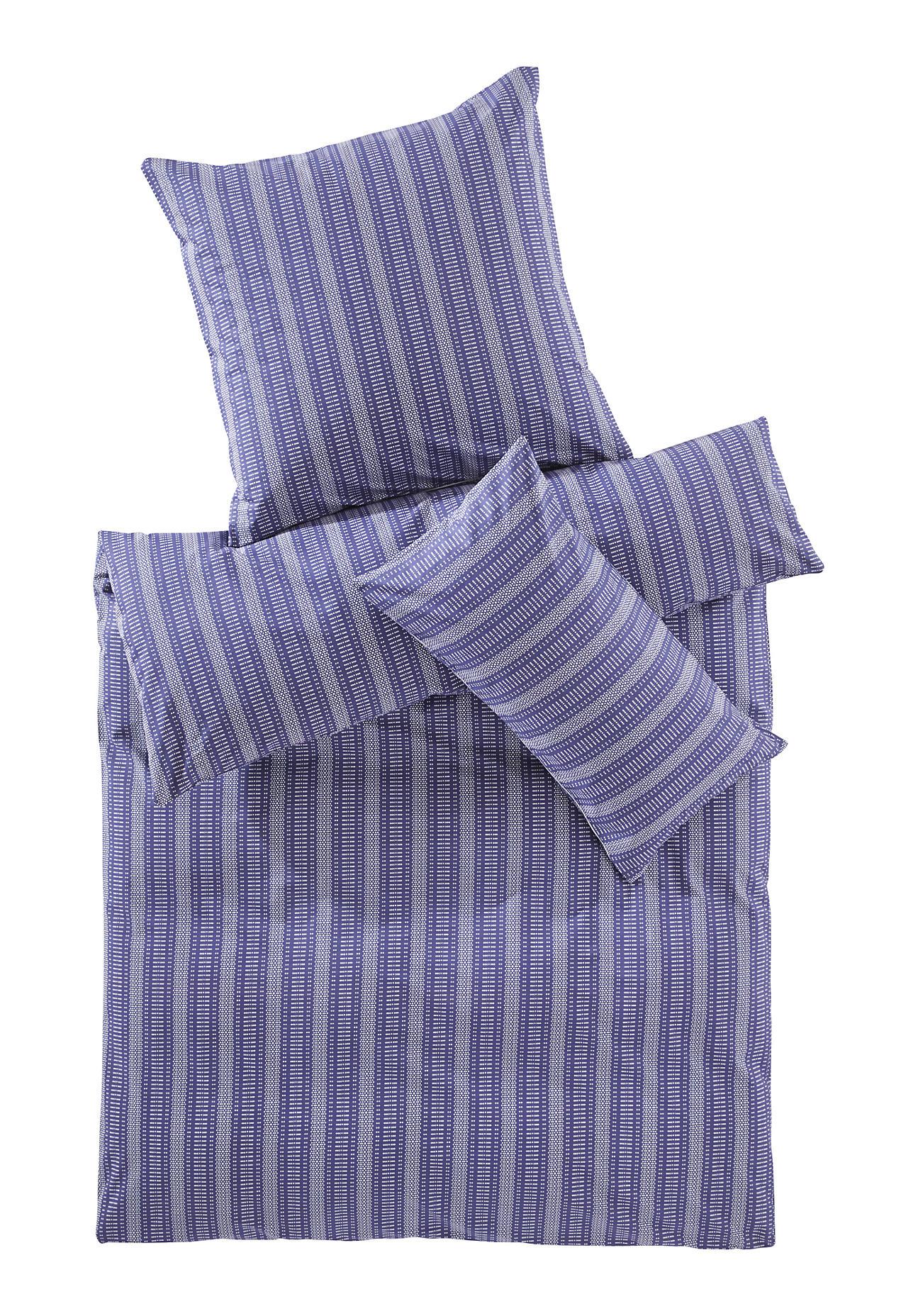 hessnatur Perkal-Bettwäsche Triana aus Bio-Baumwolle – blau – Größe 135x200+40x80 cm