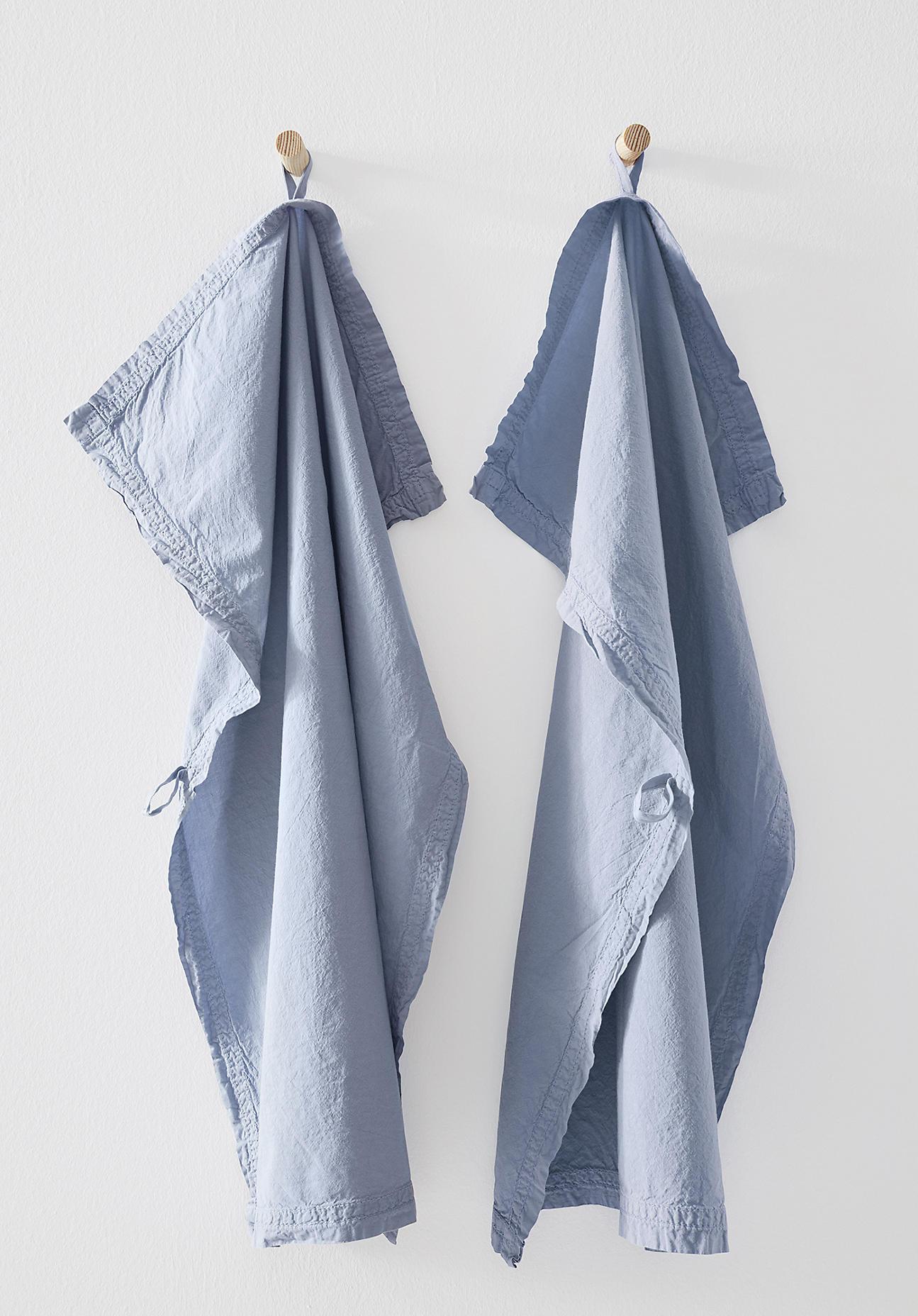 hessnatur Perkal-Geschirrtuch aus Bio-Baumwolle im 2er Set – blau – Größe 70x50 cm