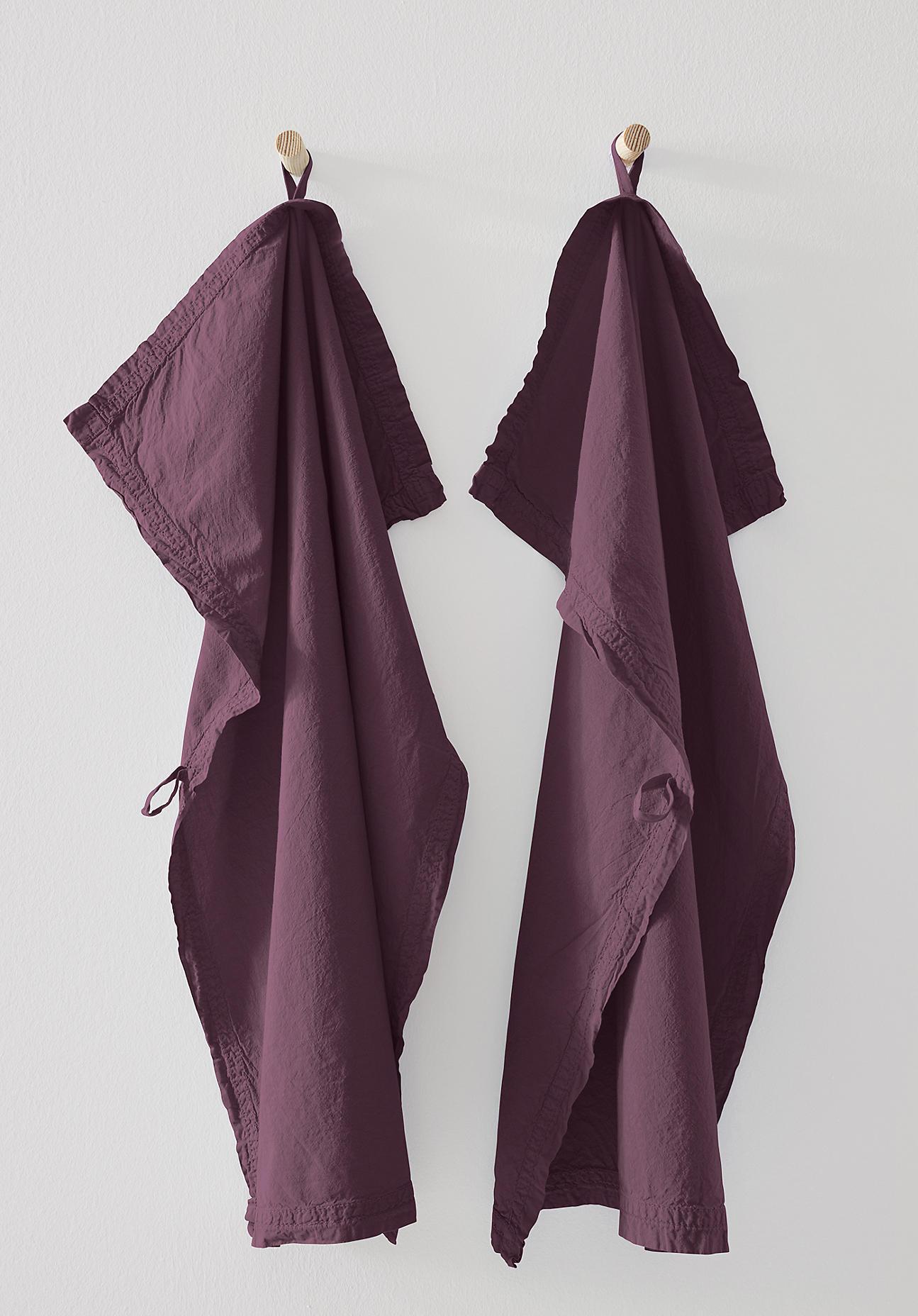 hessnatur Perkal-Geschirrtuch aus Bio-Baumwolle im 2er Set – lila – Größe 70x50 cm