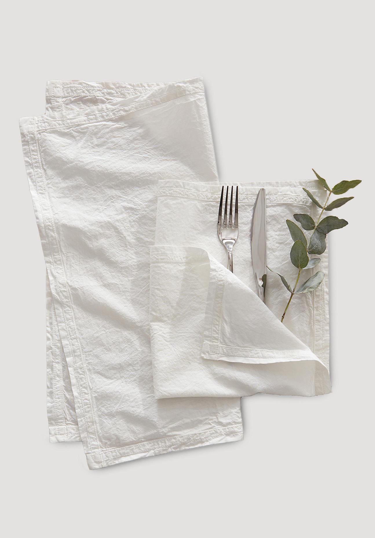hessnatur Perkal-Servietten aus Bio-Baumwolle im 2er Set – weiß – Größe 40x40 cm