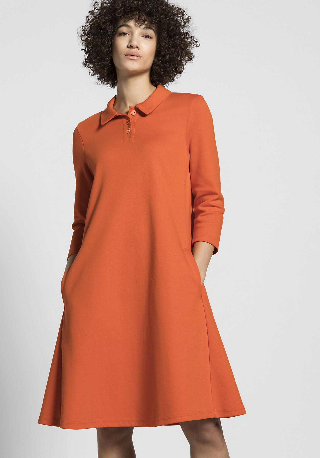 hessnatur Damen Polo-Kleid aus Bio-Baumwolle - orange Größe 34