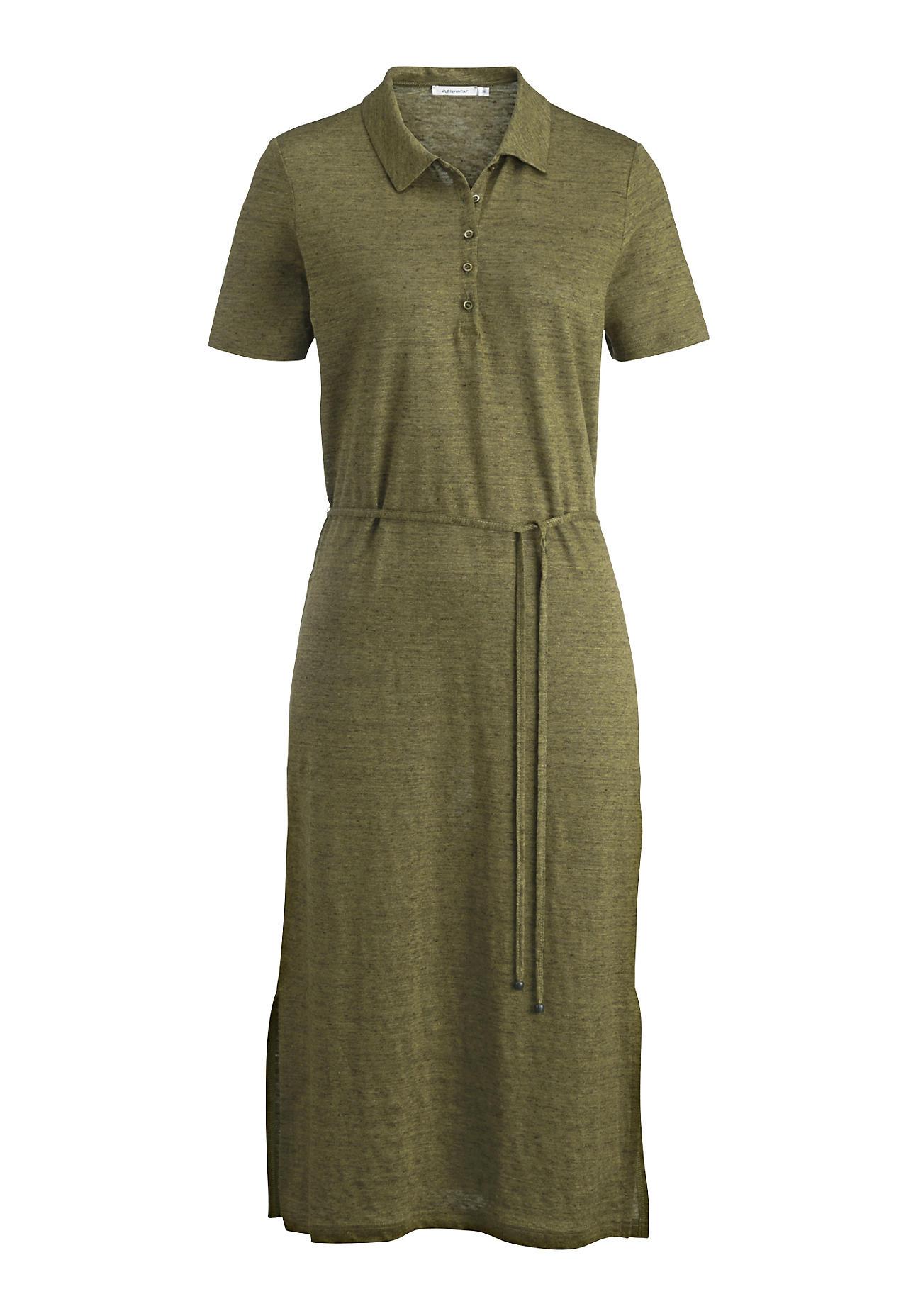 hessnatur Damen Polo-Kleid aus Leinen – grün – Größe 36