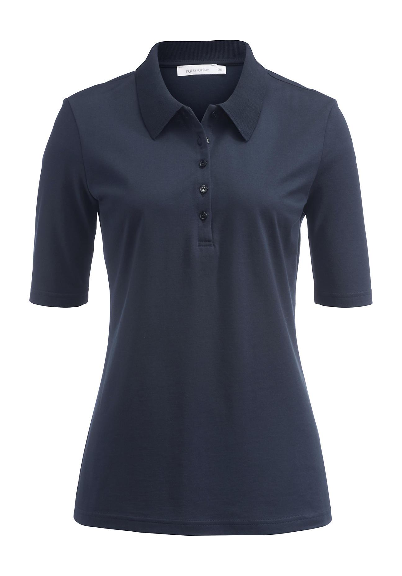 hessnatur Damen Poloshirt aus Bio-Baumwolle – blau – Größe 36