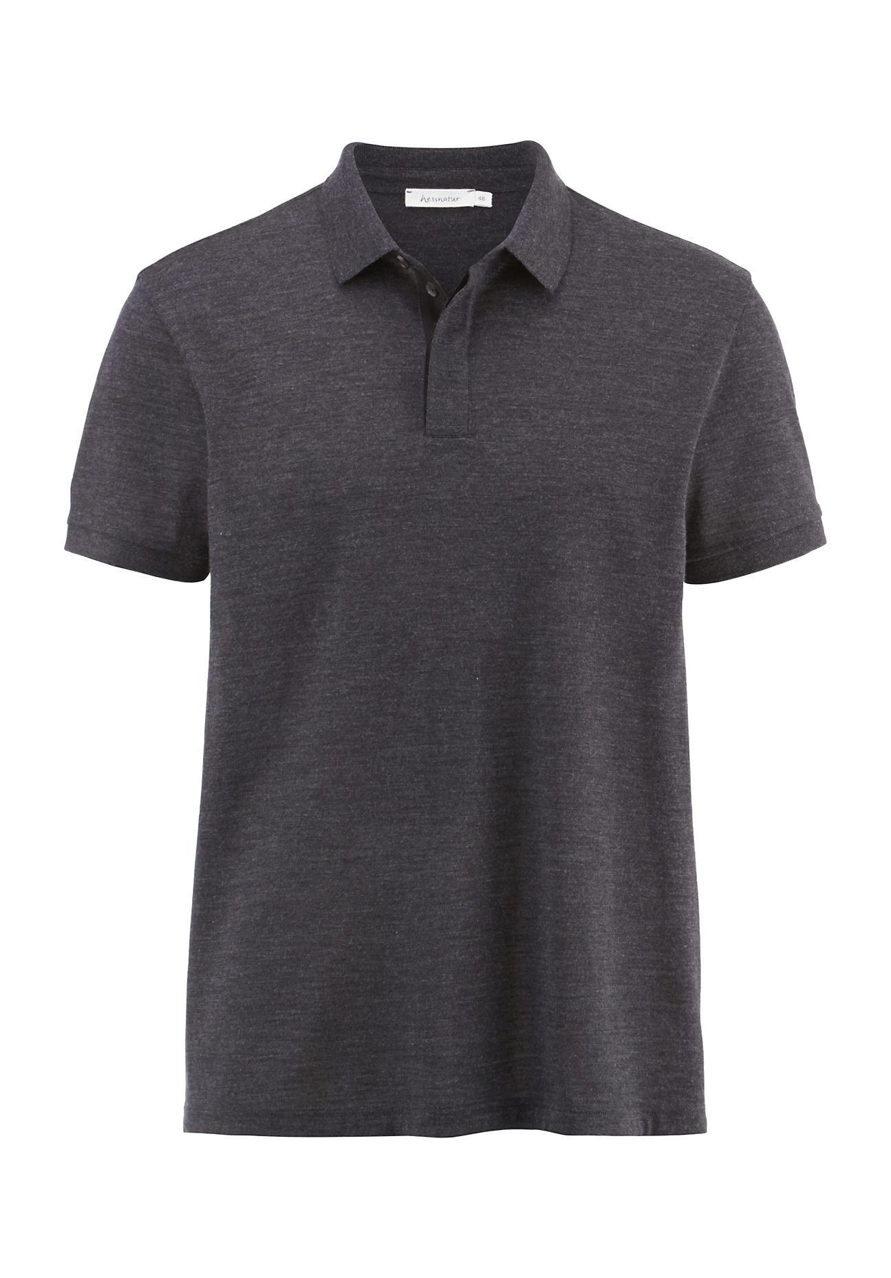 hessnatur Herren Poloshirt aus Merinowolle – schwarz – Größe 54