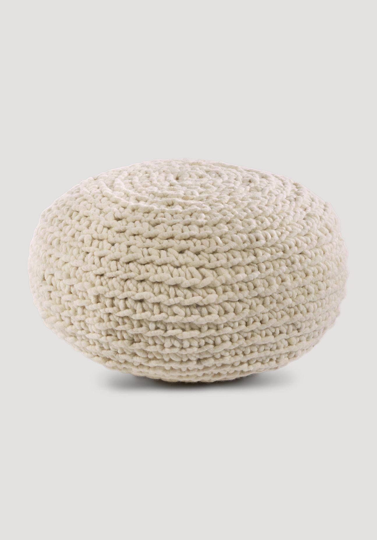 hessnatur Pouf aus Schurwolle – naturfarben – Größe 55x30 cm