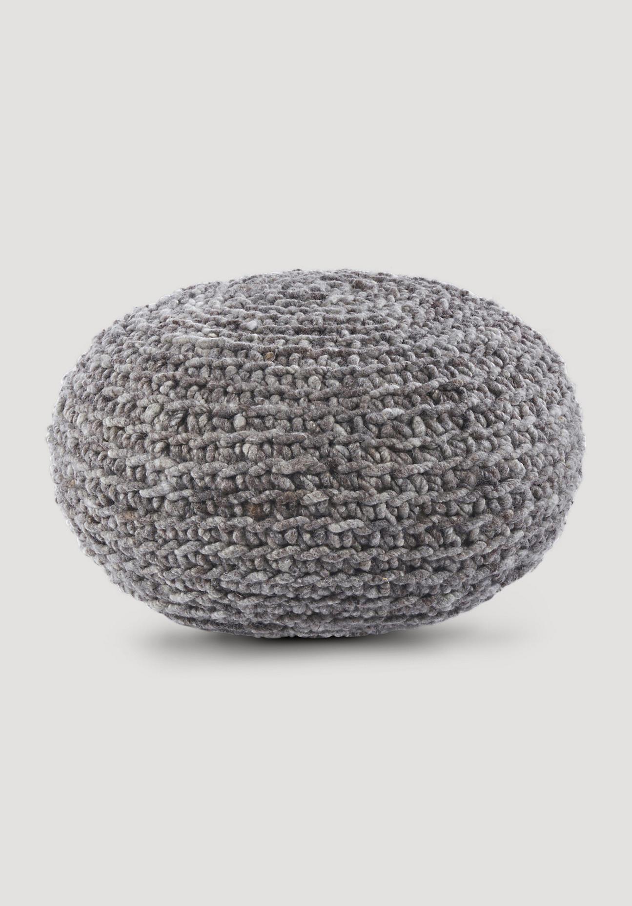 hessnatur Pouf aus Schurwolle – grau – Größe 55x30 cm