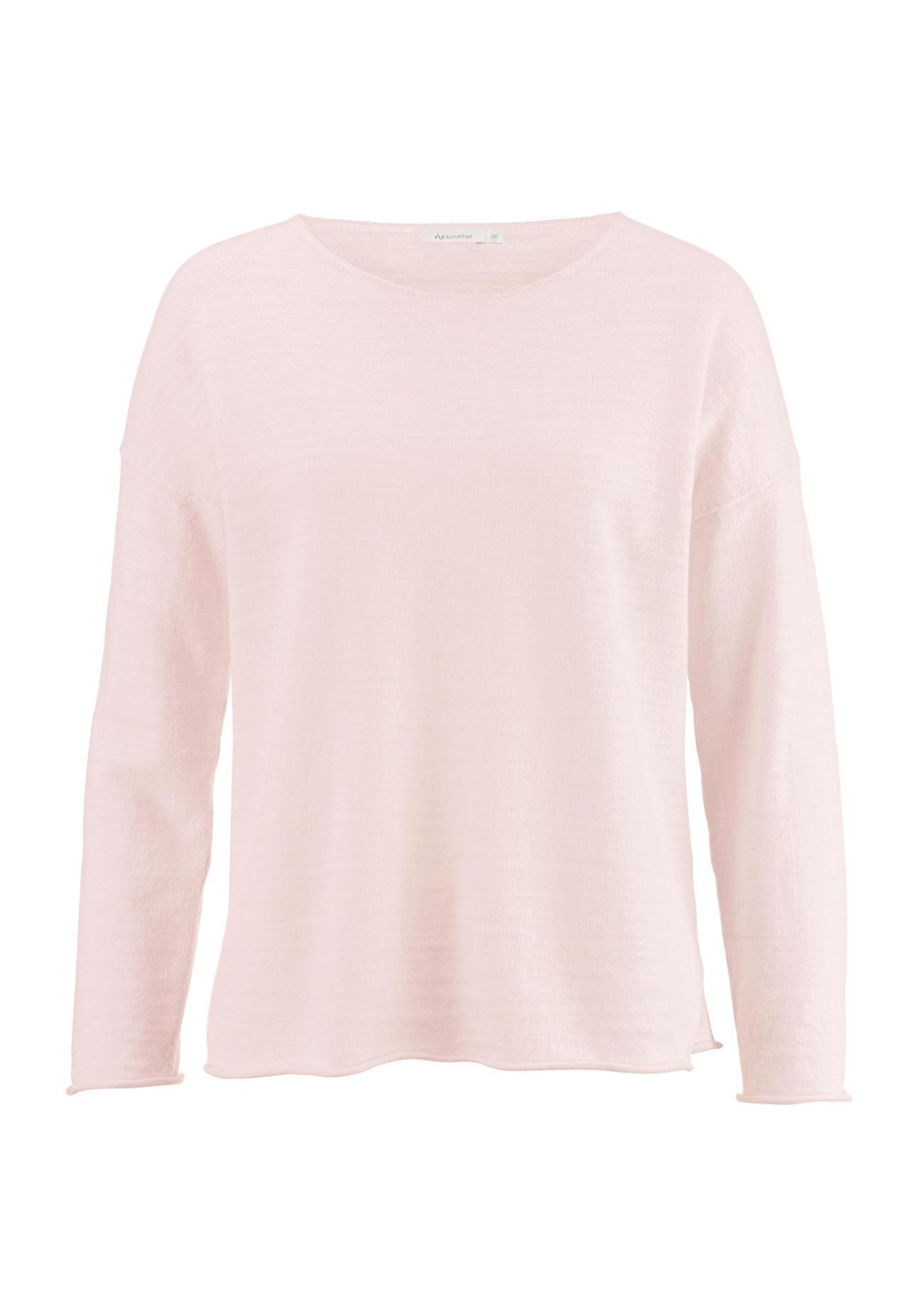 hessnatur Damen Pullover aus Leinen mit Bio-Baumwolle – rosa – Größe 36