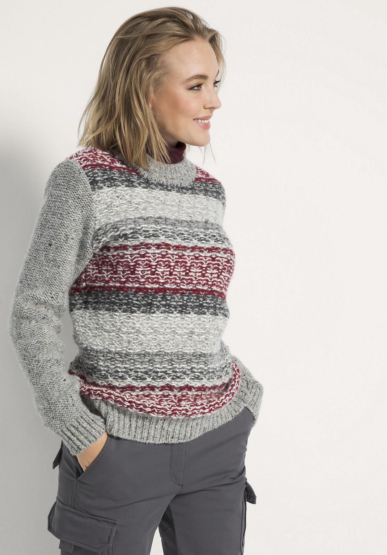 hessnatur Outdoor Pullover aus Schurwolle mit Alpaka - bordeaux - Größe 46