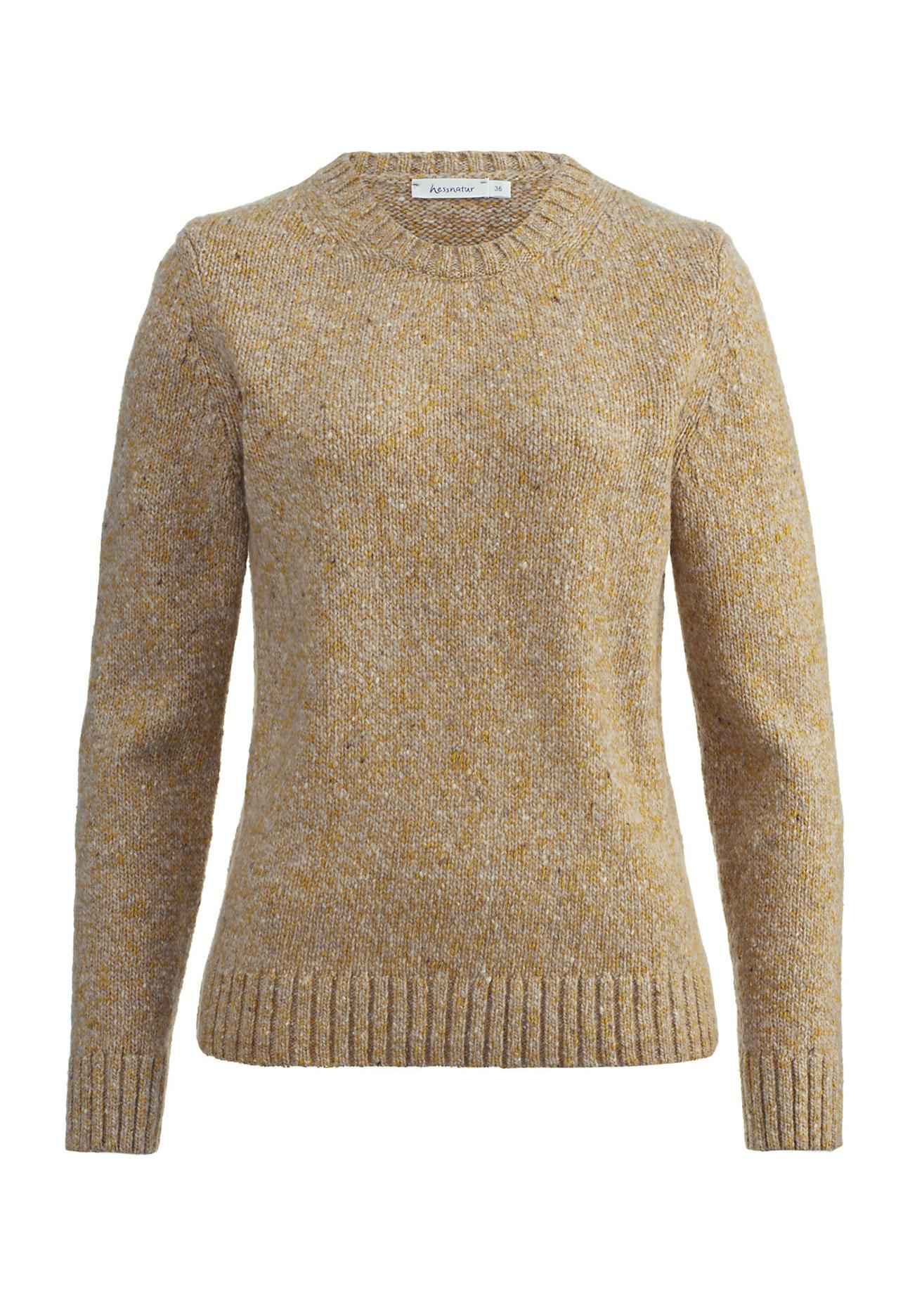 hessnatur Damen Pullover aus Schurwolle mit Baumwolle – gelb – Größe 48