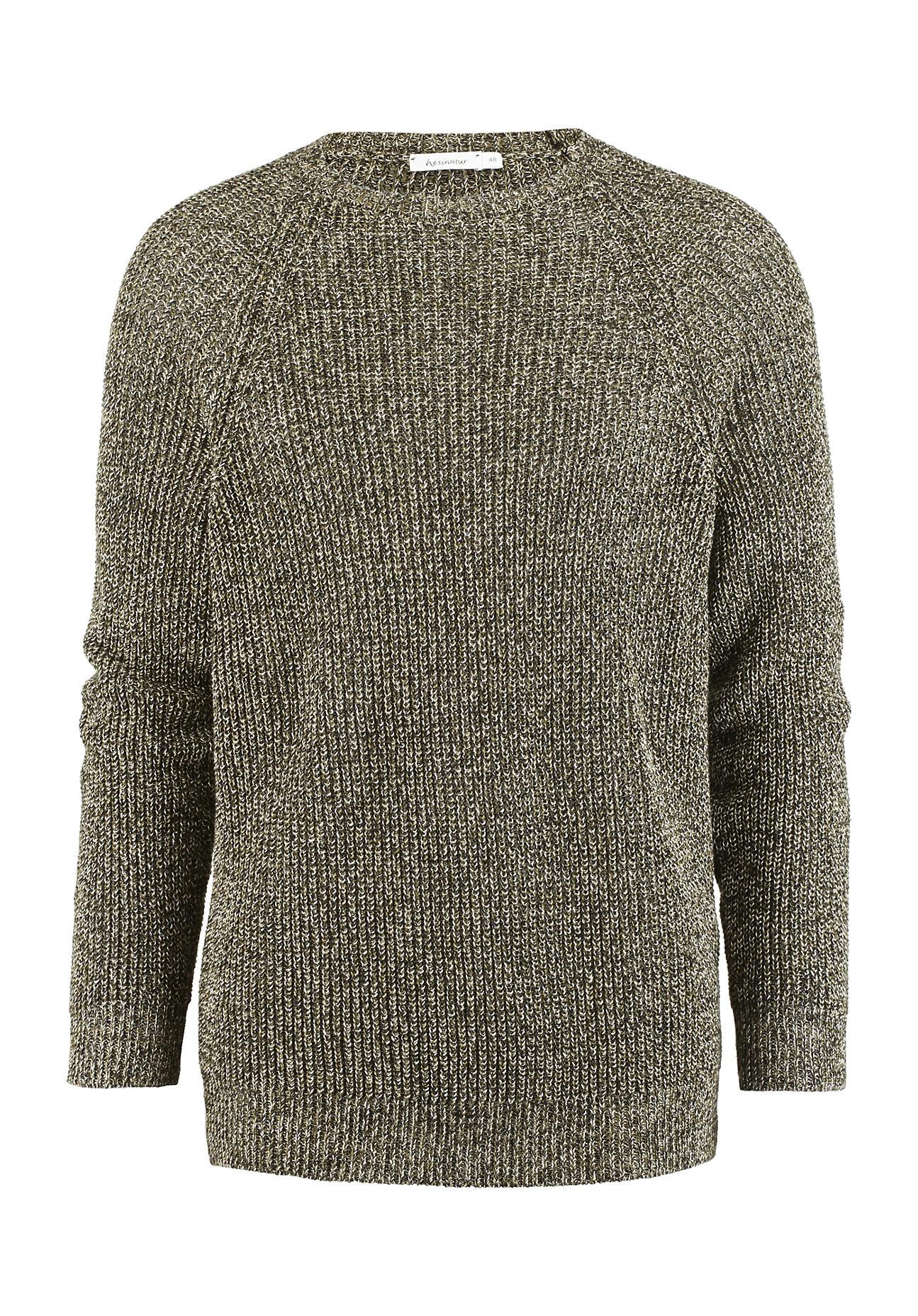 hessnatur Herren Pullover aus Leinen – grün – Größe 48