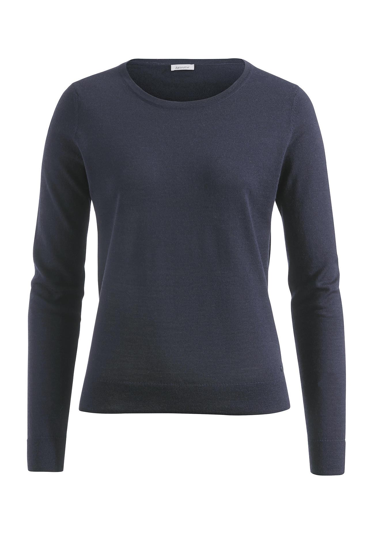 hessnatur Damen Pullover aus Bio-Schurwolle – blau – Größe 34