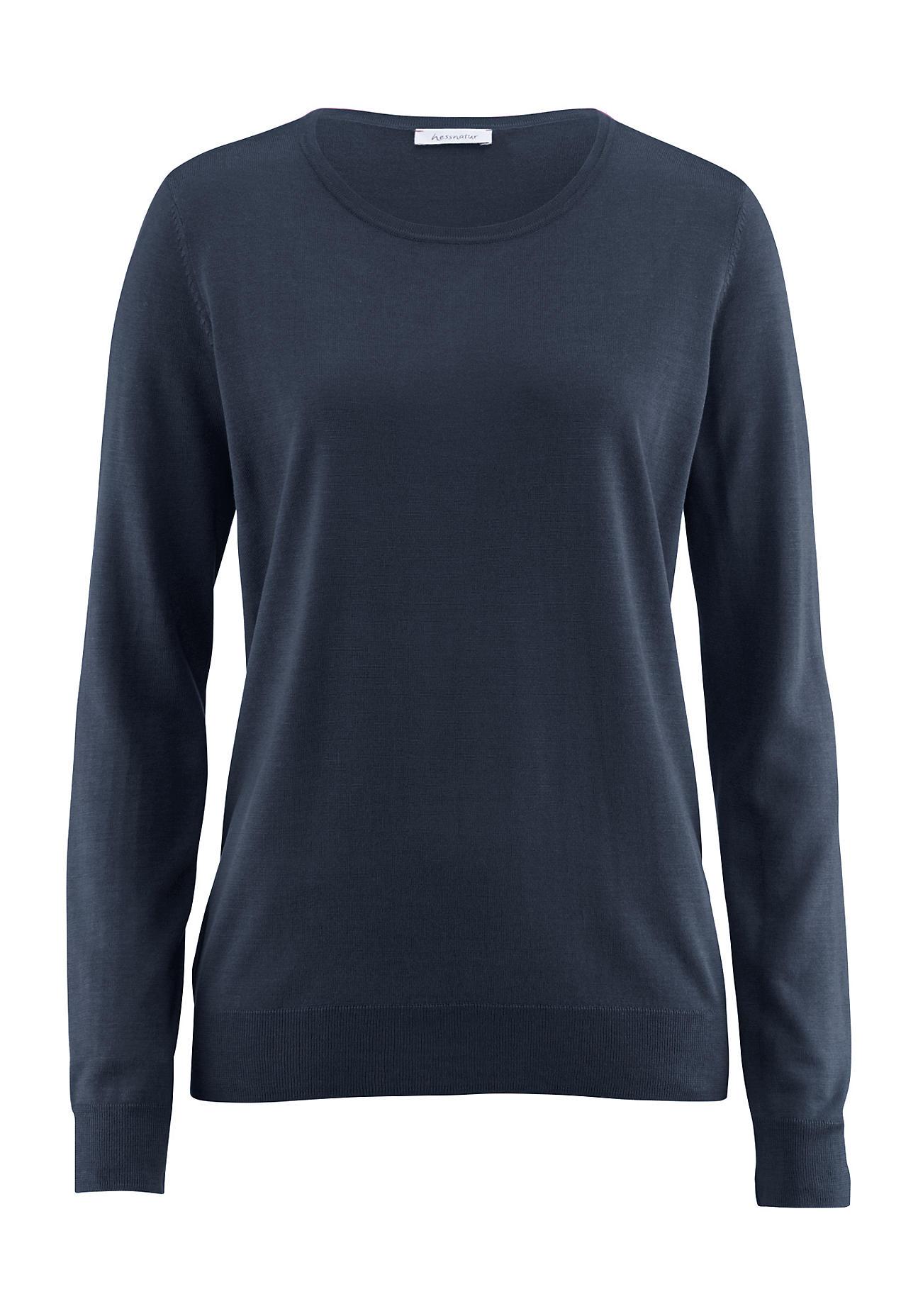 hessnatur Damen Pullover aus Bio Seide – blau – Größe 38