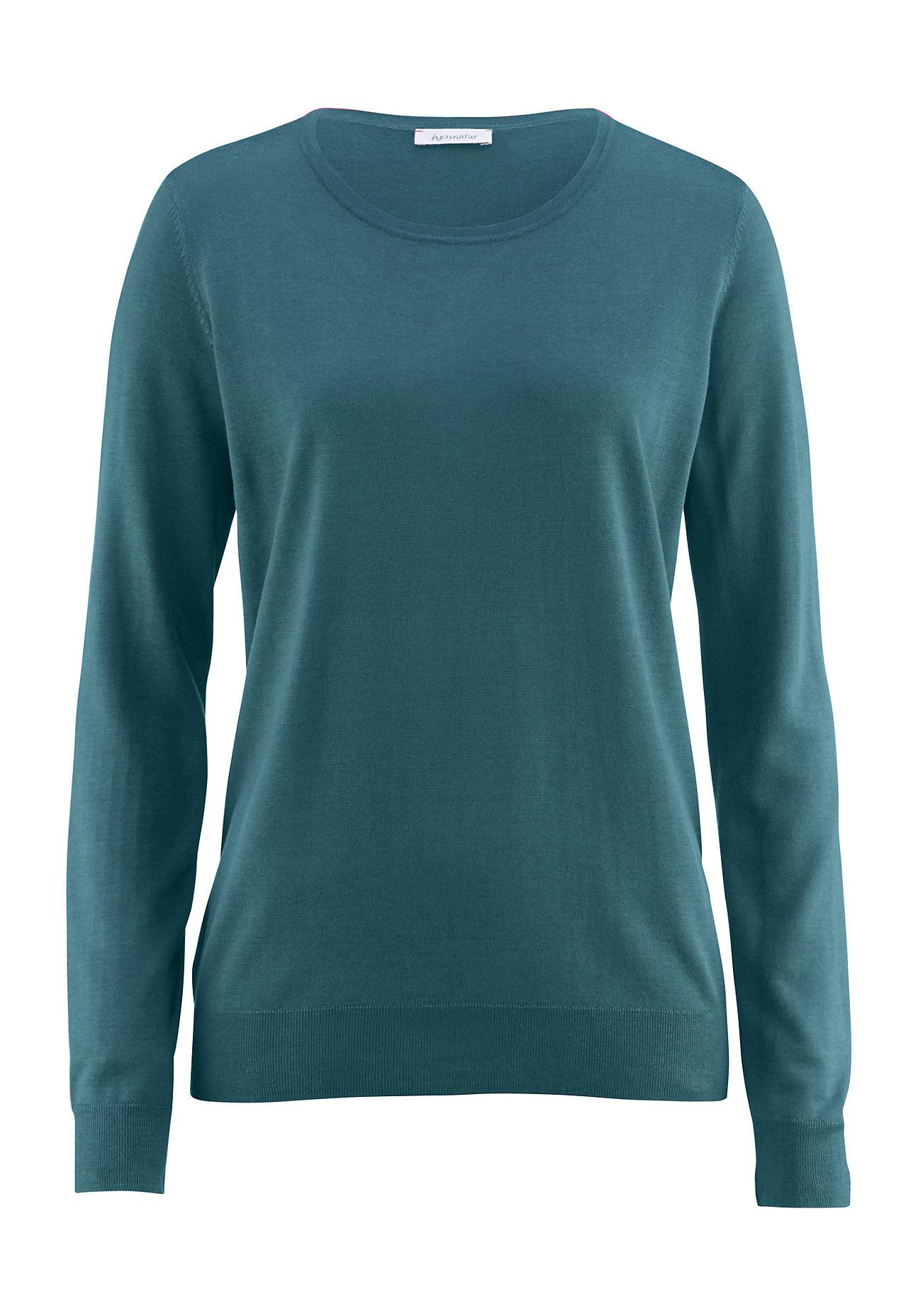 hessnatur Damen Pullover aus Bio Seide – grün – Größe 38