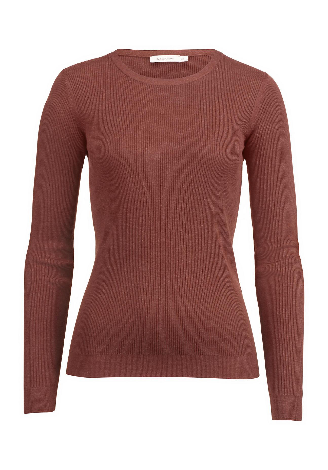 hessnatur Damen Pullover aus Eri-Seide – braun – Größe 36