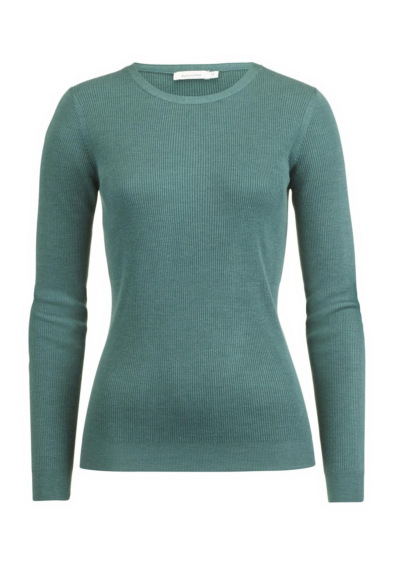 hessnatur Damen Pullover aus Eri-Seide – grün – Größe 38