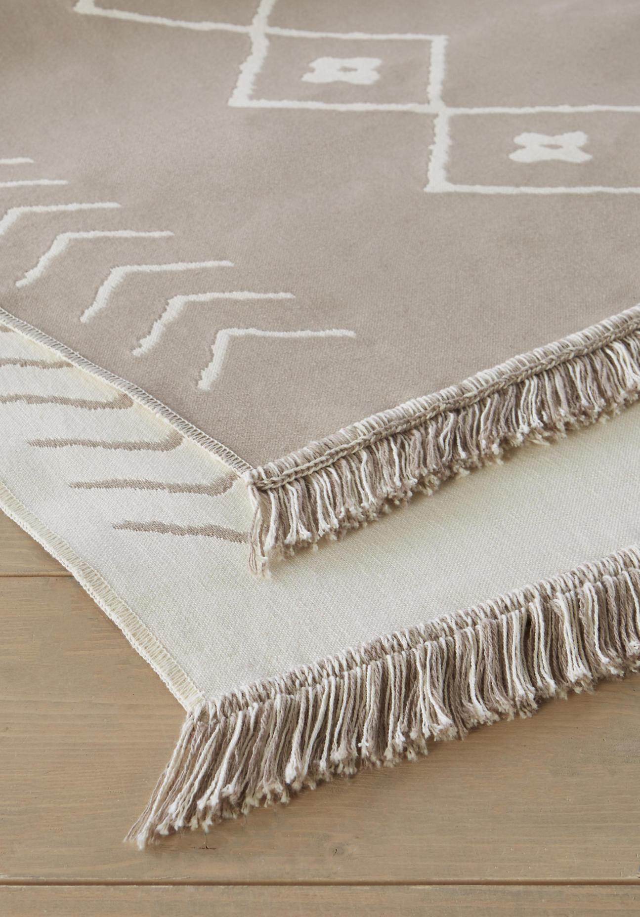 hessnatur Rauten-Teppich aus Bio-Baumwolle – beige – Größe 70x150 cm
