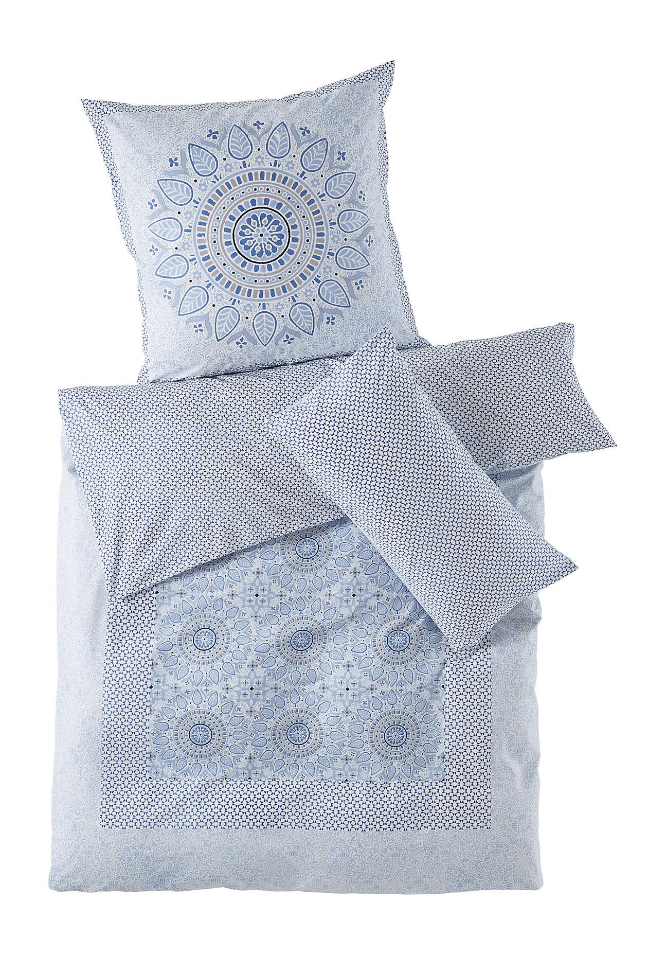 Hessnatur Renforcé Bettwäsche Marrakesch Aus Bio Baumwolle Blau Größe 155x22080x80 Cm