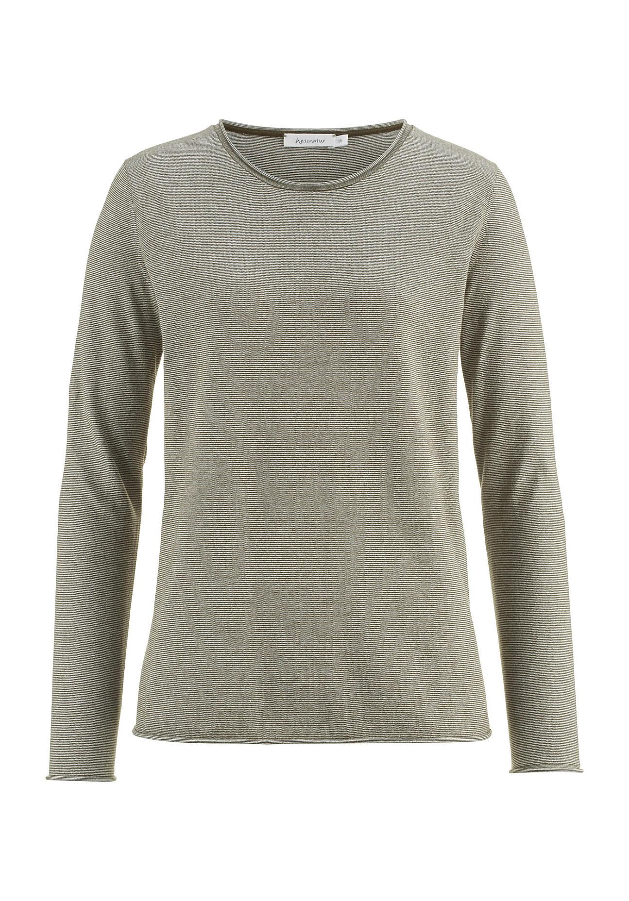 hessnatur Damen Ringel-Pullover aus Bio-Baumwolle – grün – Größe 38