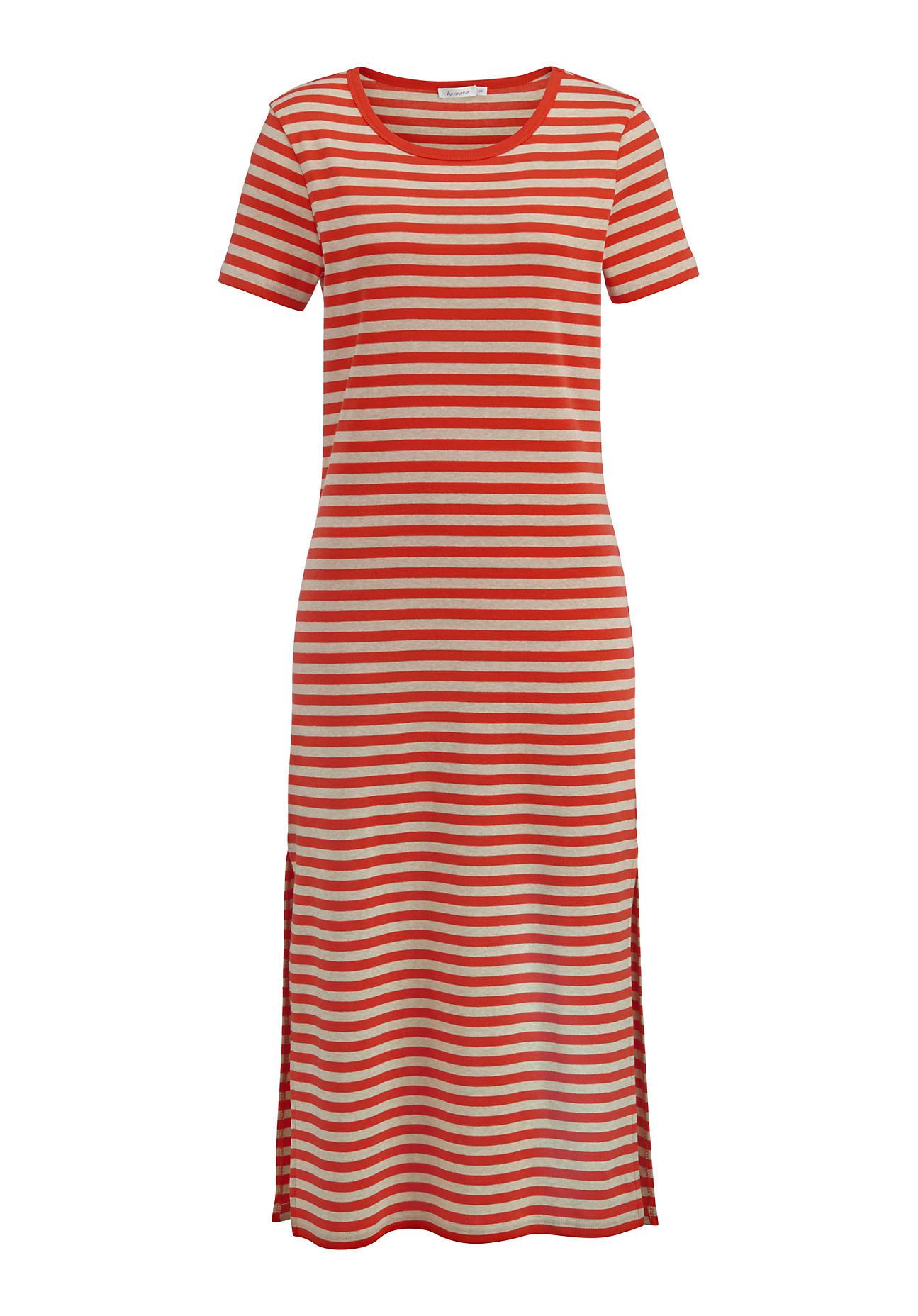 hessnatur Damen Ringelkleid aus Bio-Baumwolle – rot – Größe 36