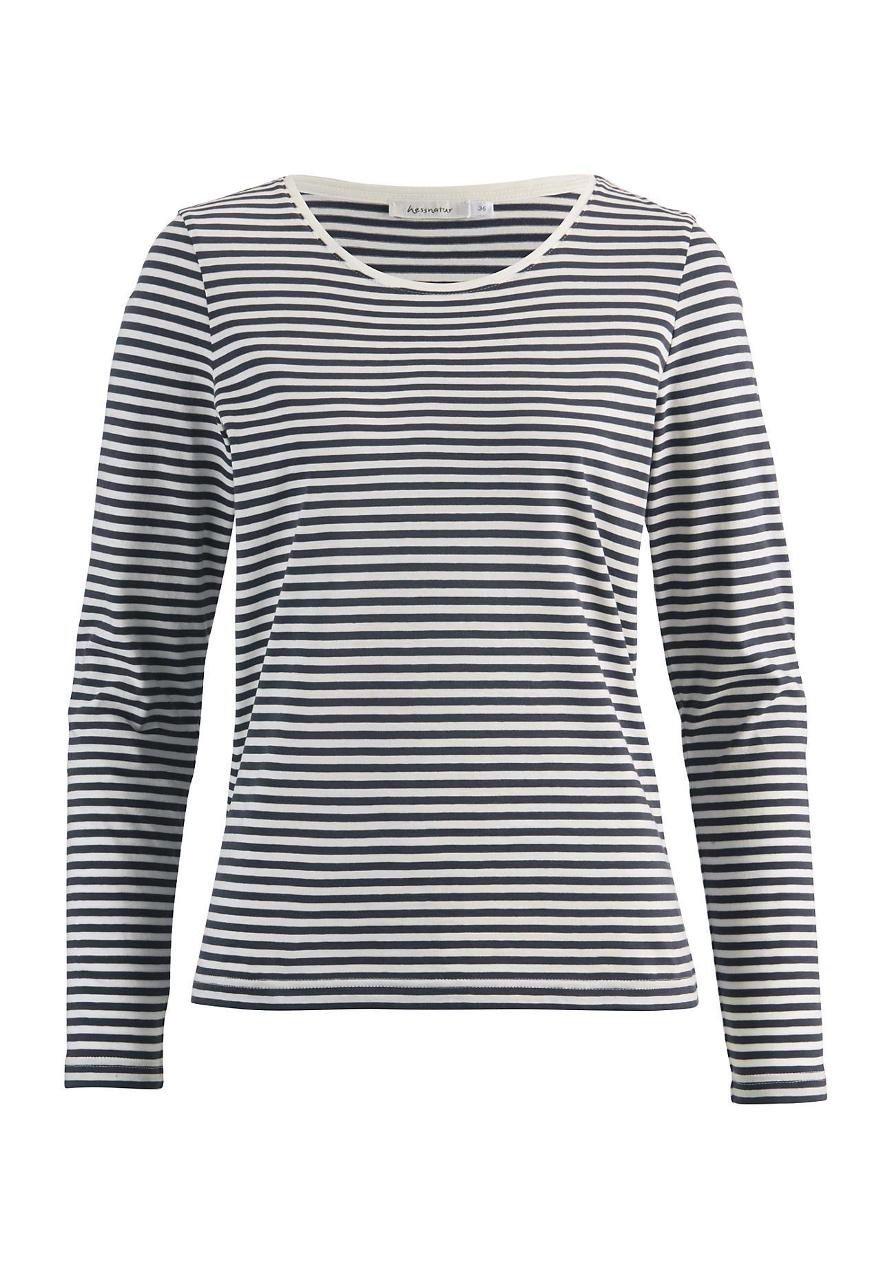 hessnatur Damen Ringelshirt aus Bio Baumwolle – blau – Größe 38