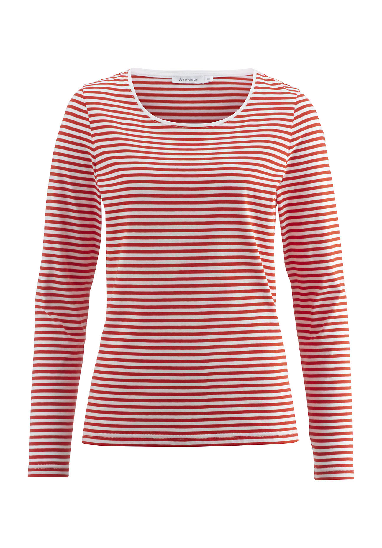 hessnatur -  Damen Ringelshirt aus Bio-Baumwolle – rot – Größe 44