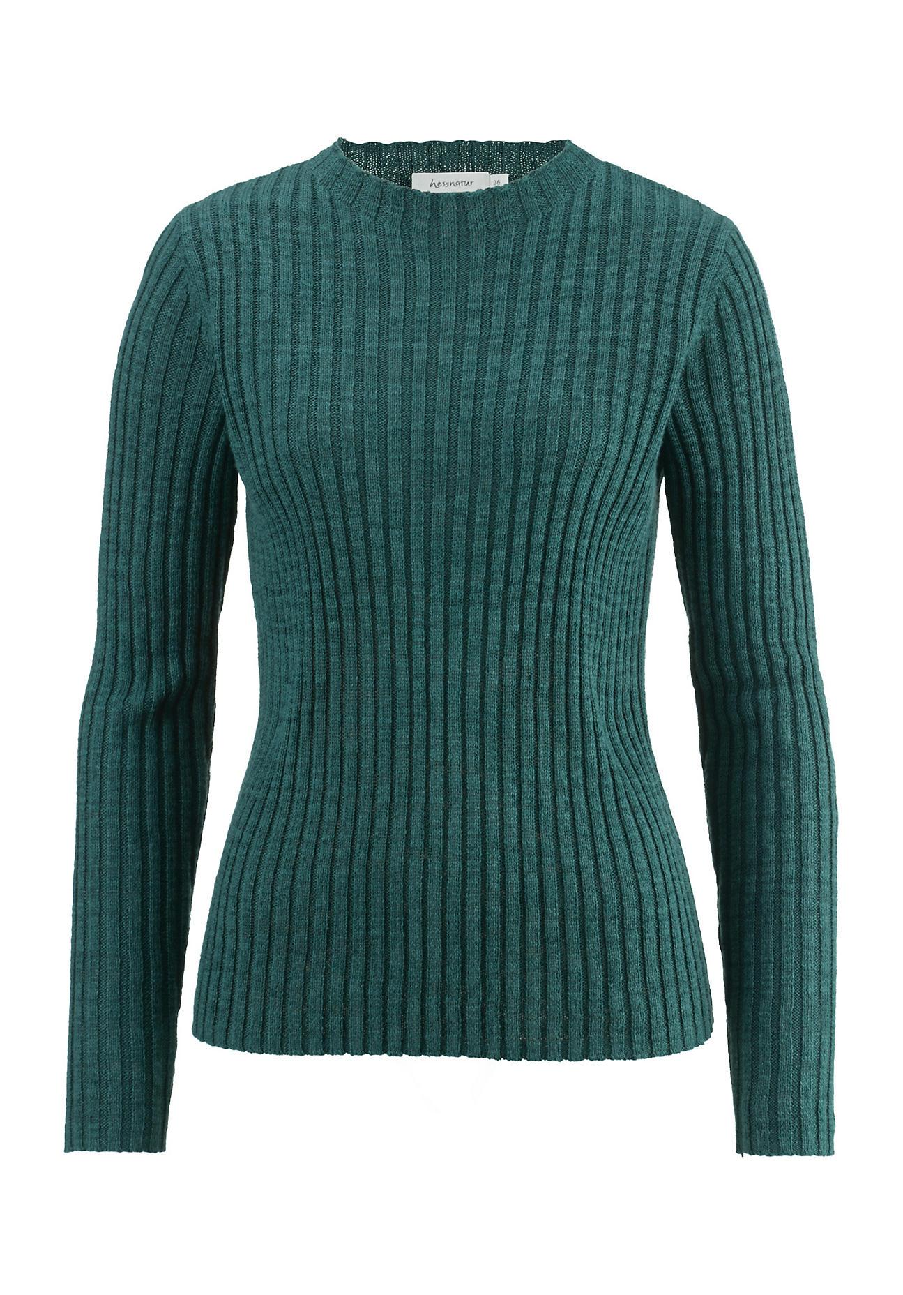 hessnatur Damen Ripp-Pullover aus Leinen mit Bio-Baumwolle – grün – Größe 38