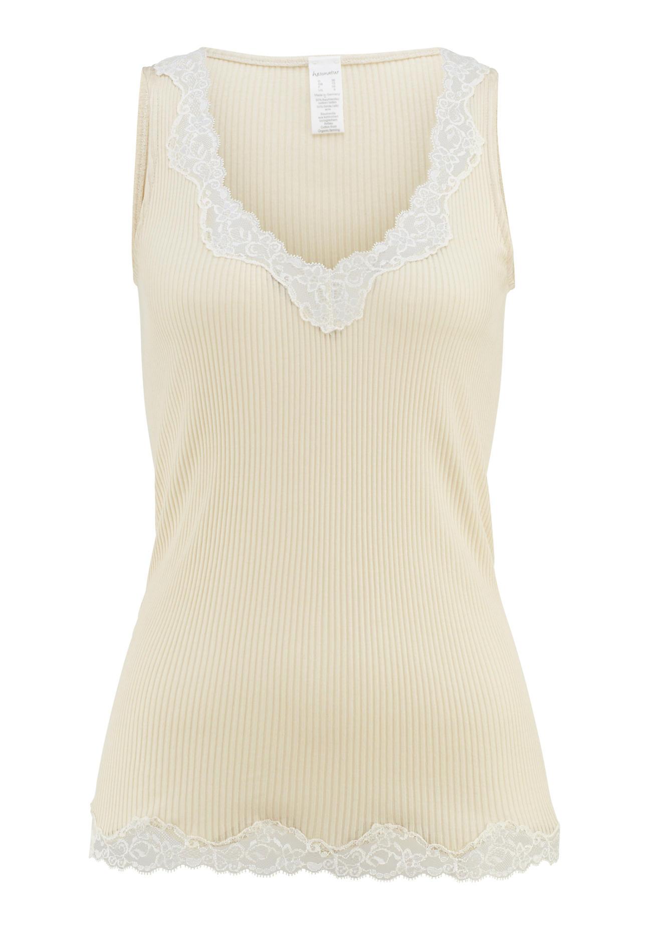 hessnatur Damen Rippshirt aus Bio Baumwolle mit Seide – beige – Größe 38
