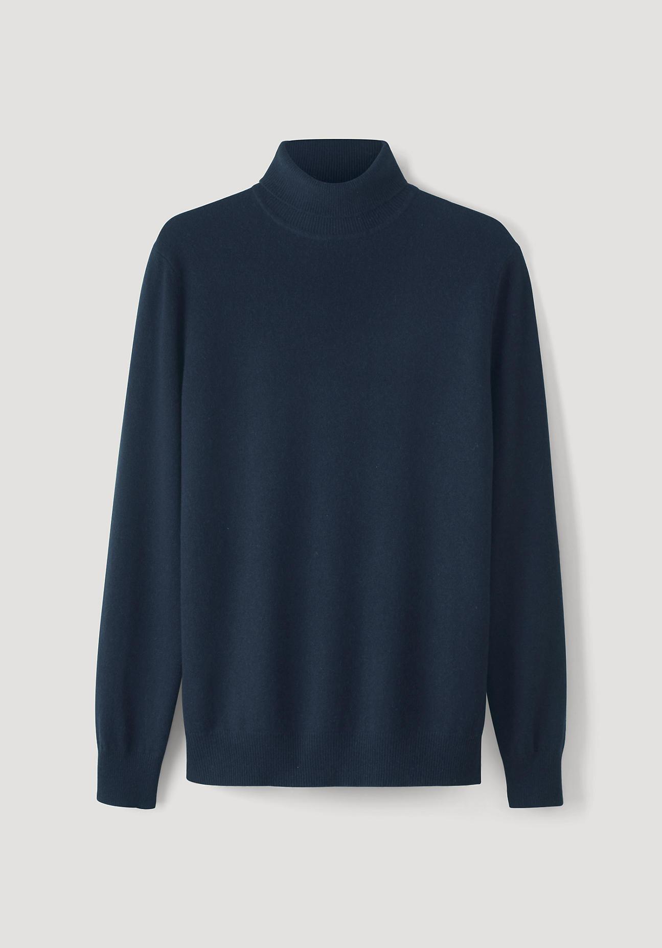 hessnatur Herren Rollkragen-Pullover aus Schurwolle mit Kaschmir – blau – Größe 46 | Bekleidung > Pullover | hessnatur