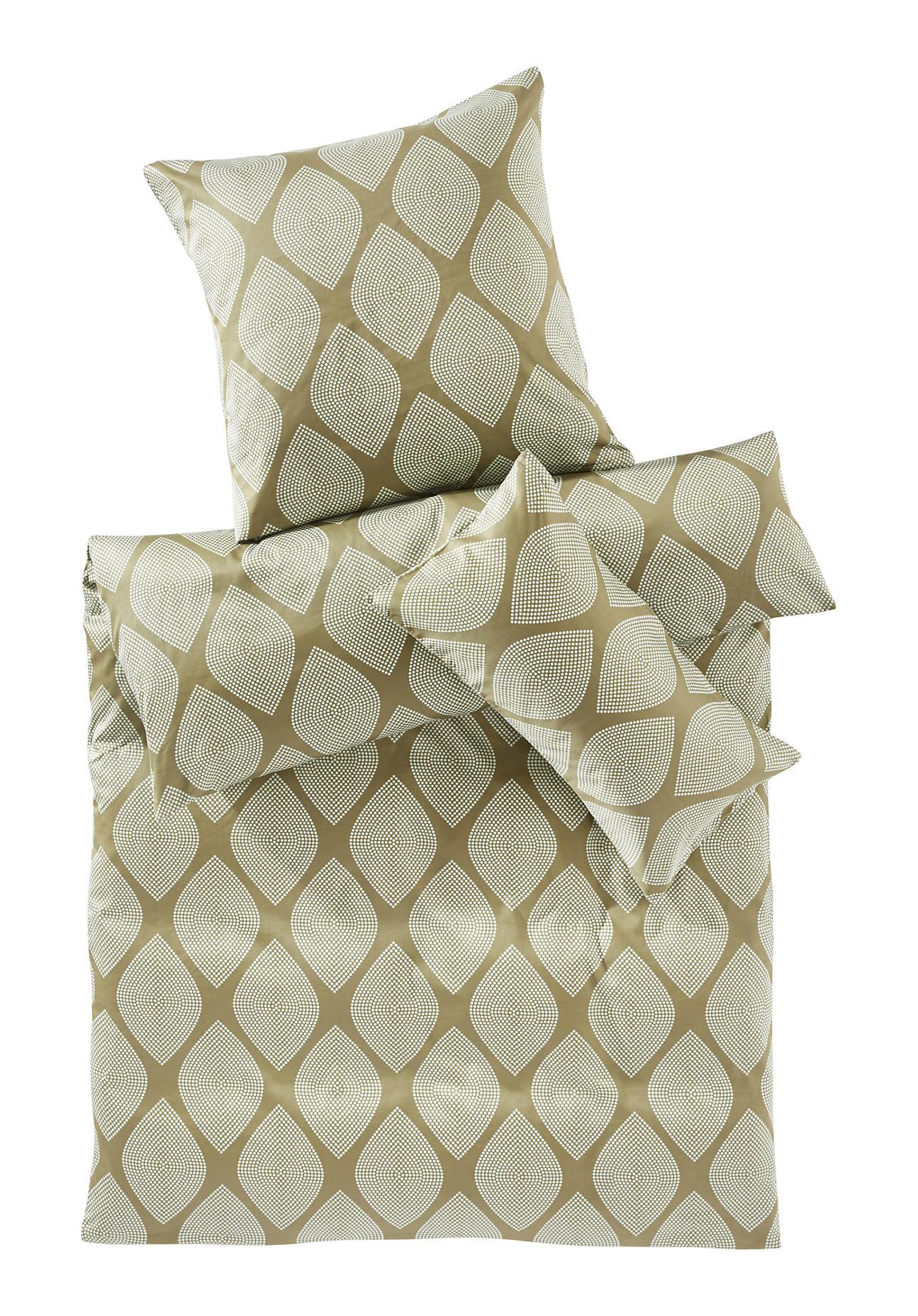 hessnatur Satin-Bettwäsche Rettangoli aus Bio-Baumwolle – grün – Größe 135x200+40x80 cm