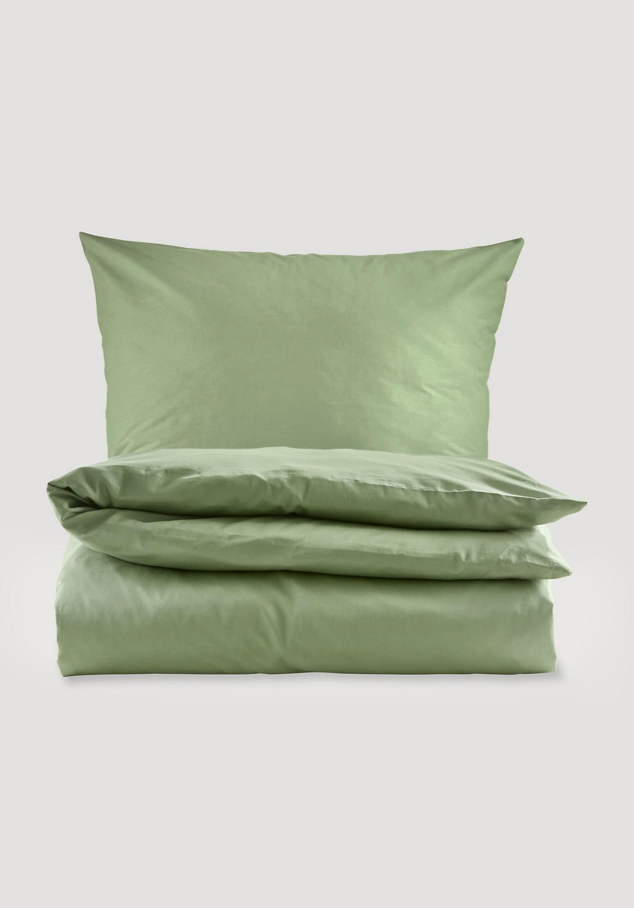 hessnatur Satin-Bettwäsche aus Bio-Baumwolle - grün Größe 135x200+40x80 cm