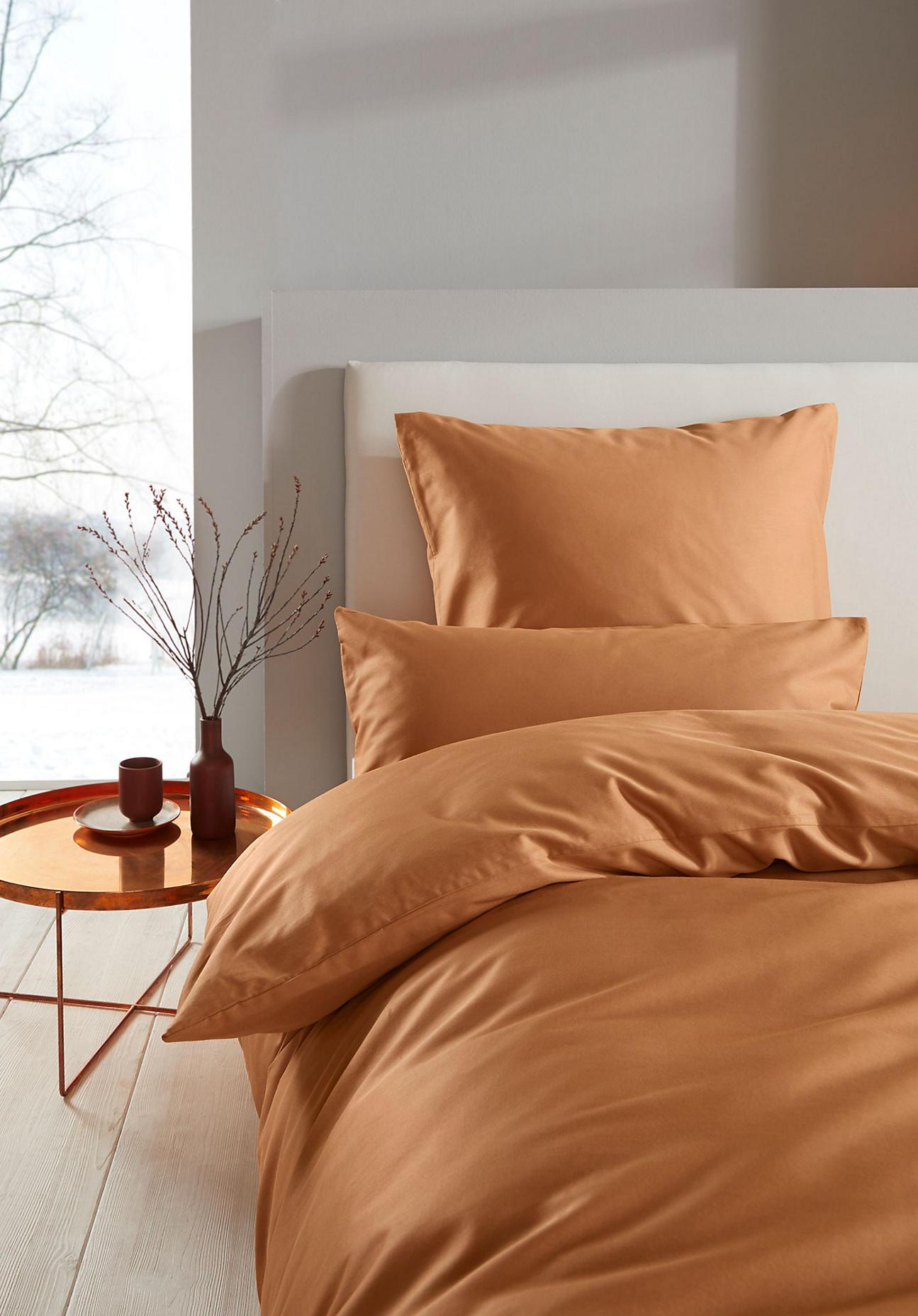 hessnatur Satin-Bettwäsche aus Bio-Baumwolle - braun Größe 240x220+2x80x80 cm