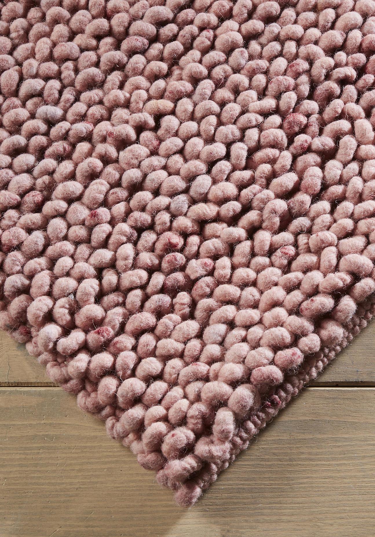hessnatur Schlingenteppich Rhönschaf aus Schurwolle – rosa – Größe 70x140 cm