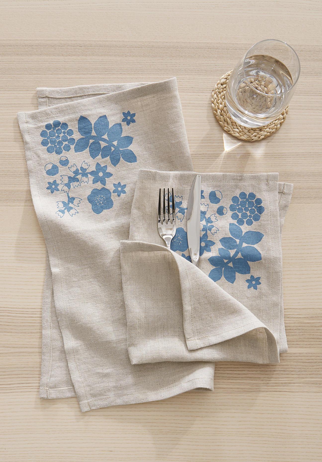 hessnatur Serviette Leila im 2er-Set aus Leinen – blau – Größe 40x40 cm
