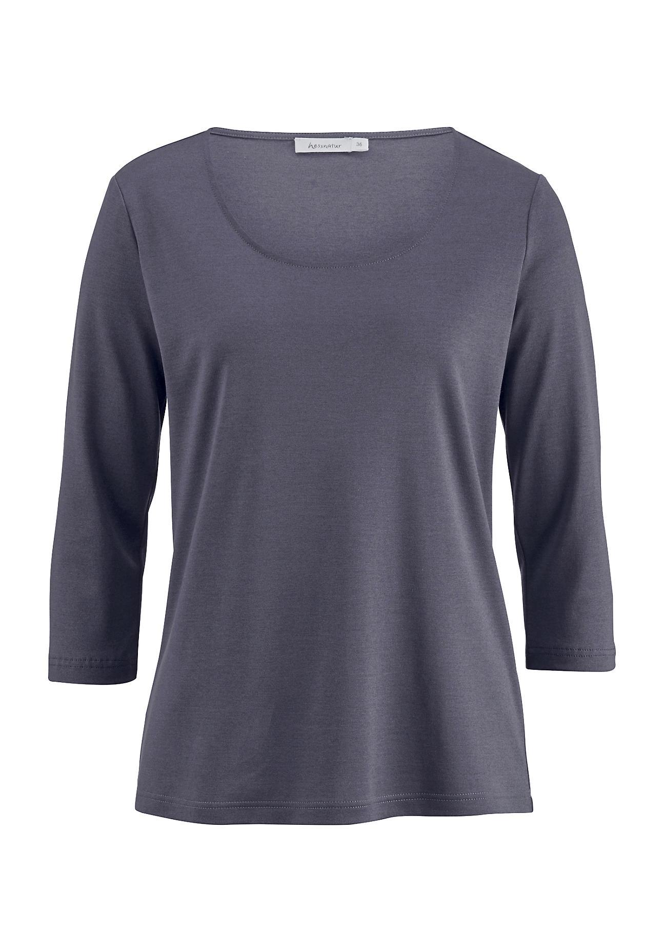 hessnatur -  Damen Shirt aus Baumwolle und Seide – lila – Größe 44