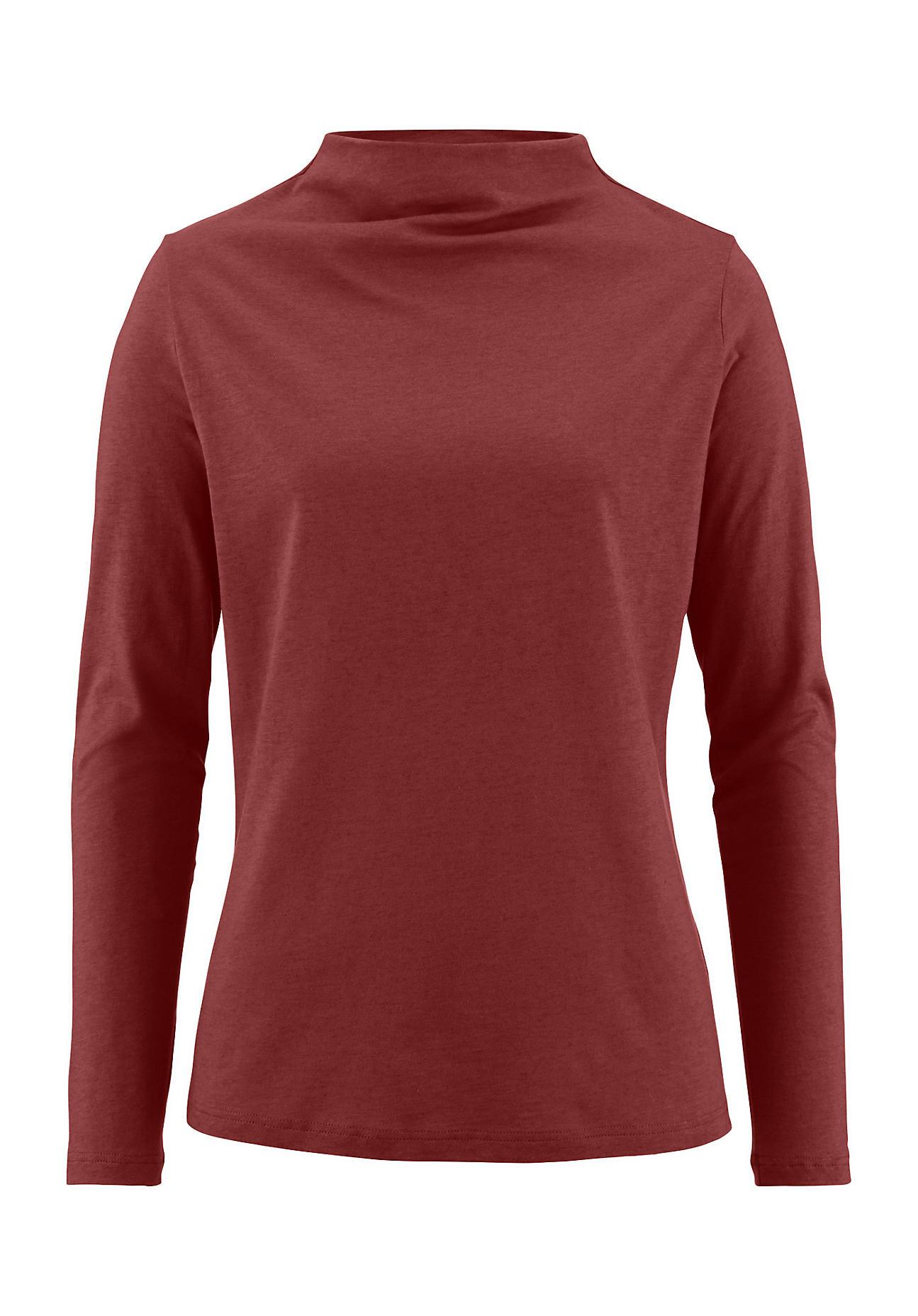 Image of hessnatur Damen Shirt aus Bio-Baumwolle mit Bio-Schurwolle – rot – Größe 34