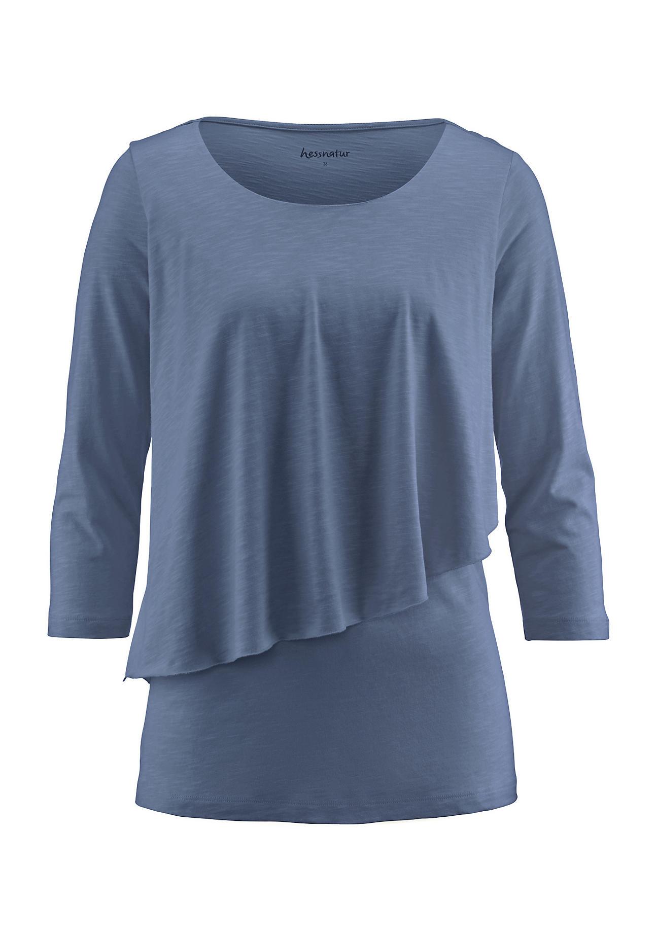 hessnatur Damen Shirt aus Bio Baumwolle mit Modal – blau – Größe 38