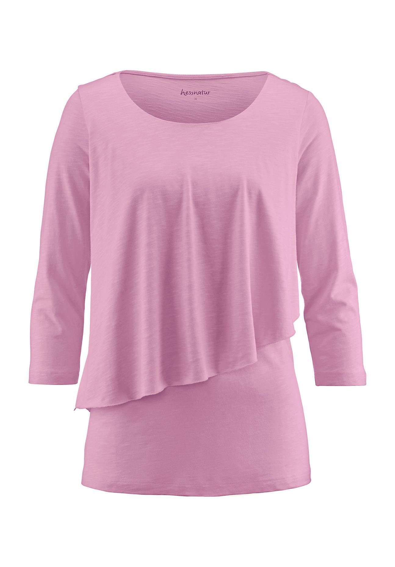 hessnatur Damen Shirt aus Bio Baumwolle mit Modal – rosa – Größe 38