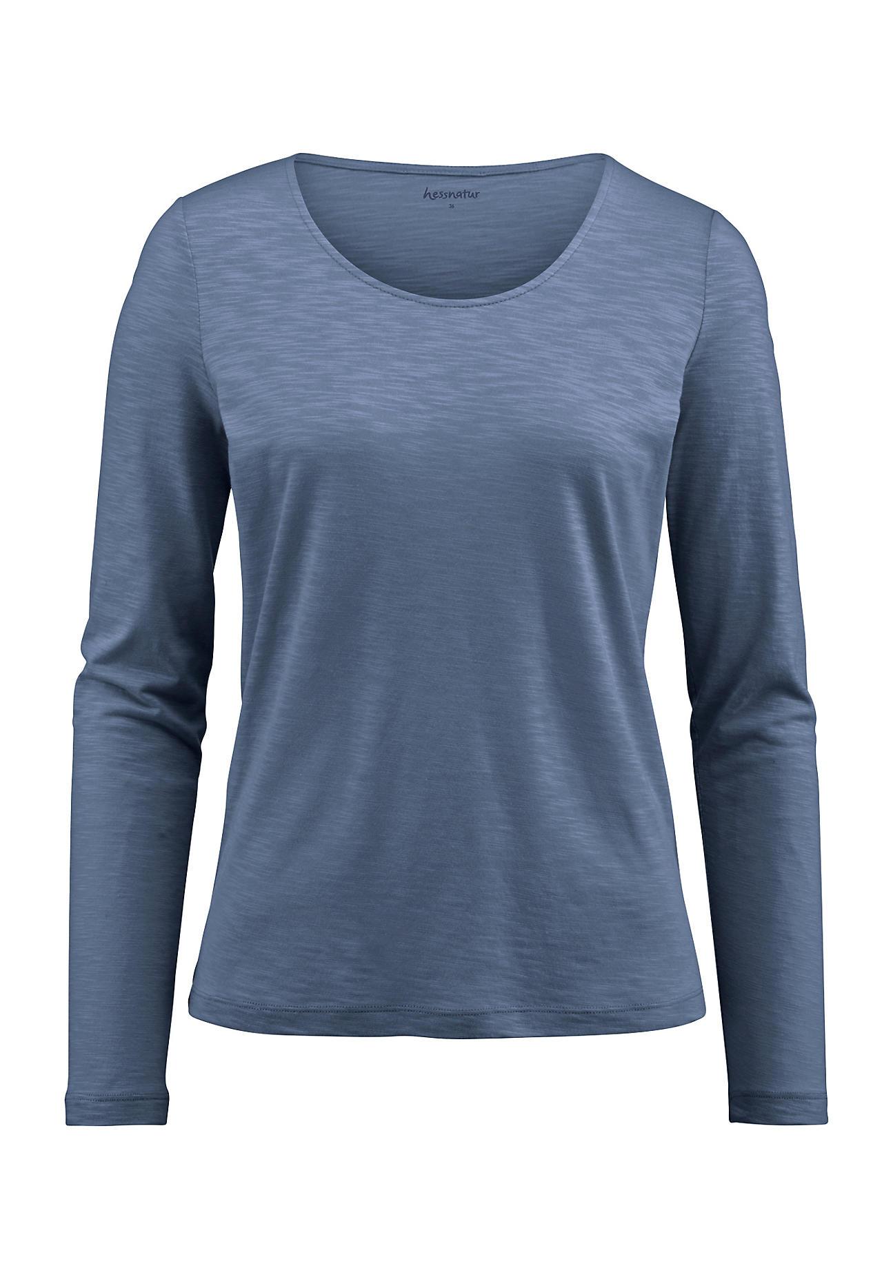 hessnatur Damen Shirt aus Bio Baumwolle und Modal – blau – Größe 38