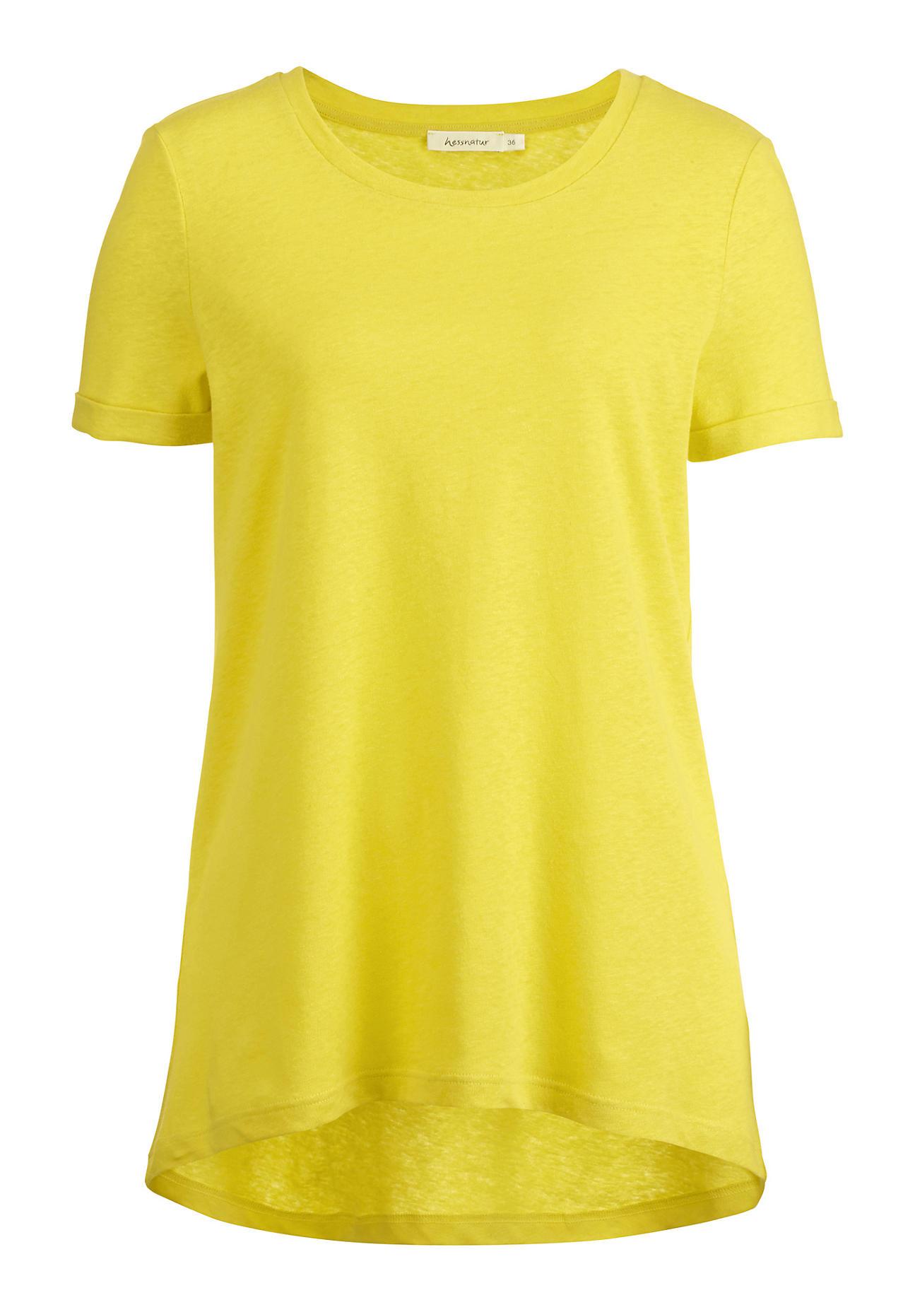 hessnatur Damen Shirt aus Bio-Leinen mit Bio-Baumwolle – gelb – Größe 36