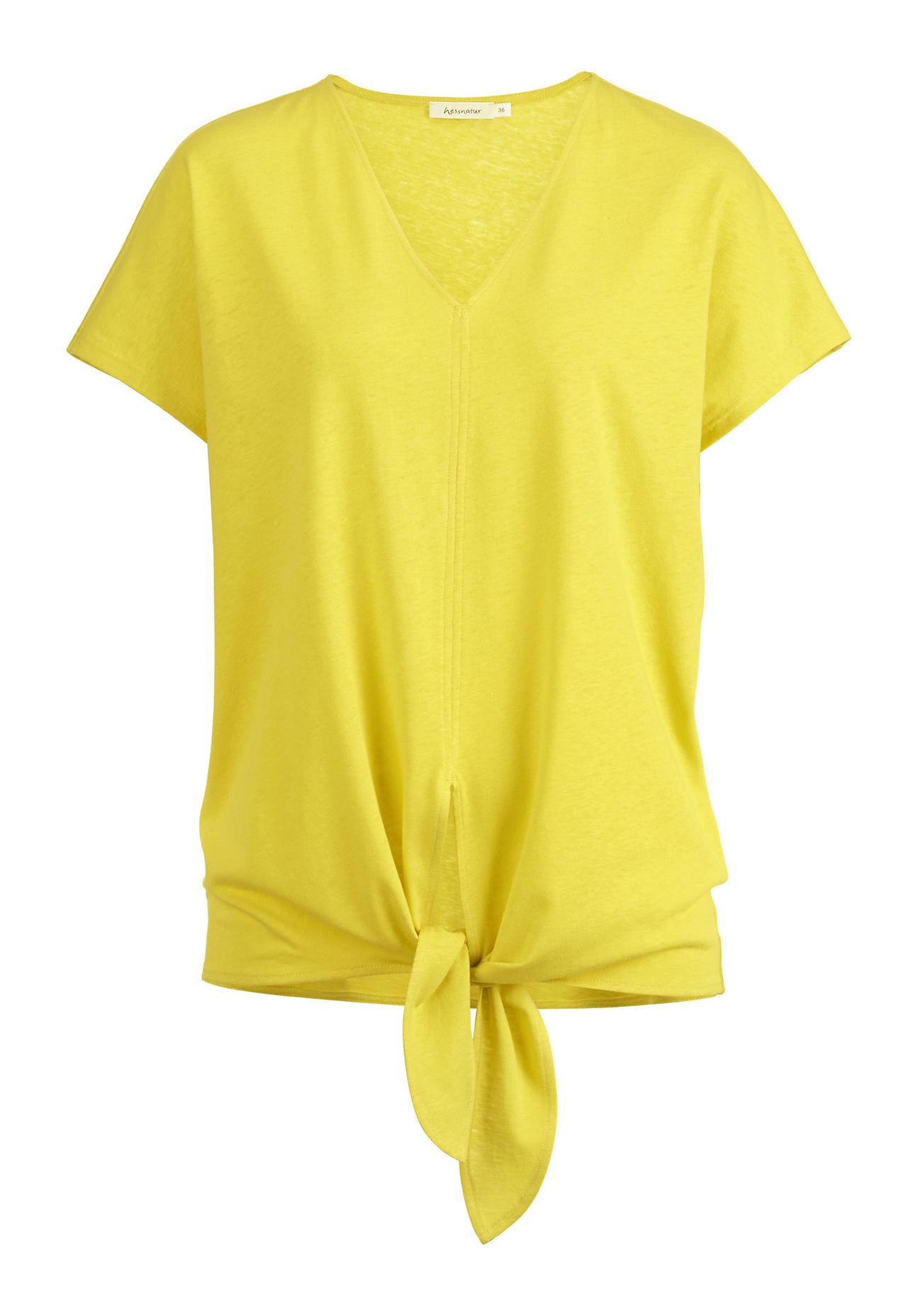 hessnatur Damen Shirt aus Bio-Leinen mit Bio-Baumwolle – gelb – Größe 38