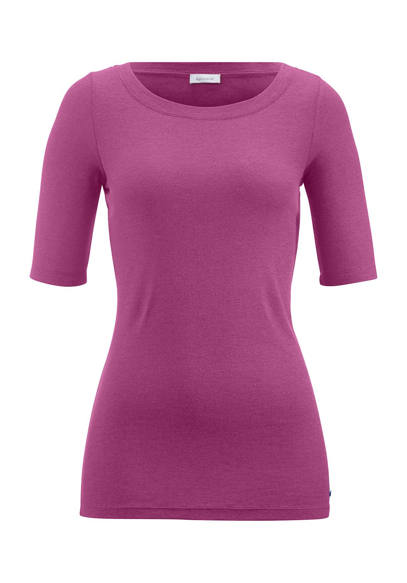 hessnatur Damen Shirt aus Modal mit Schurwolle – lila – Größe 38