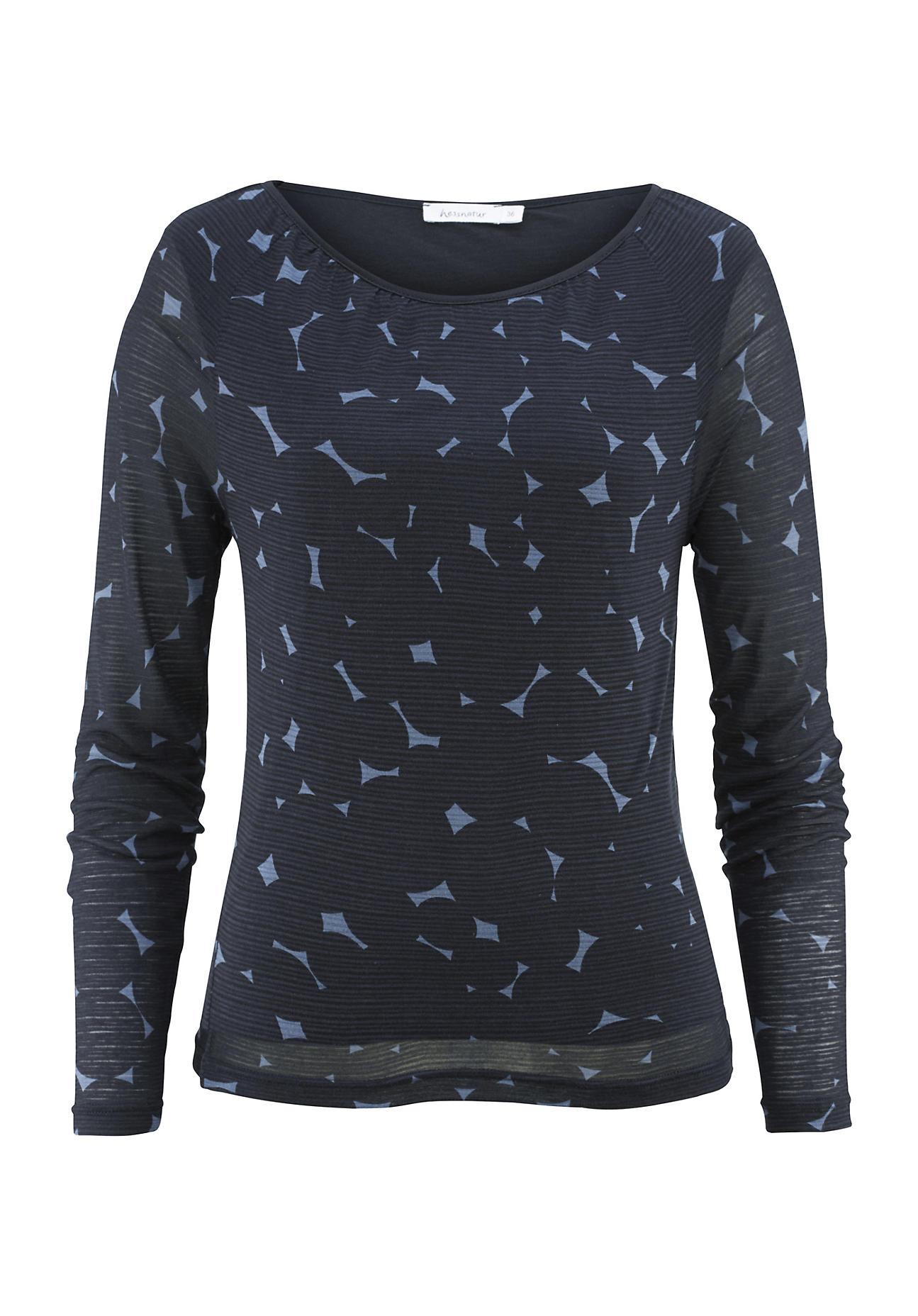 hessnatur Damen Shirt aus Modal mit Schurwolle – blau – Größe 38