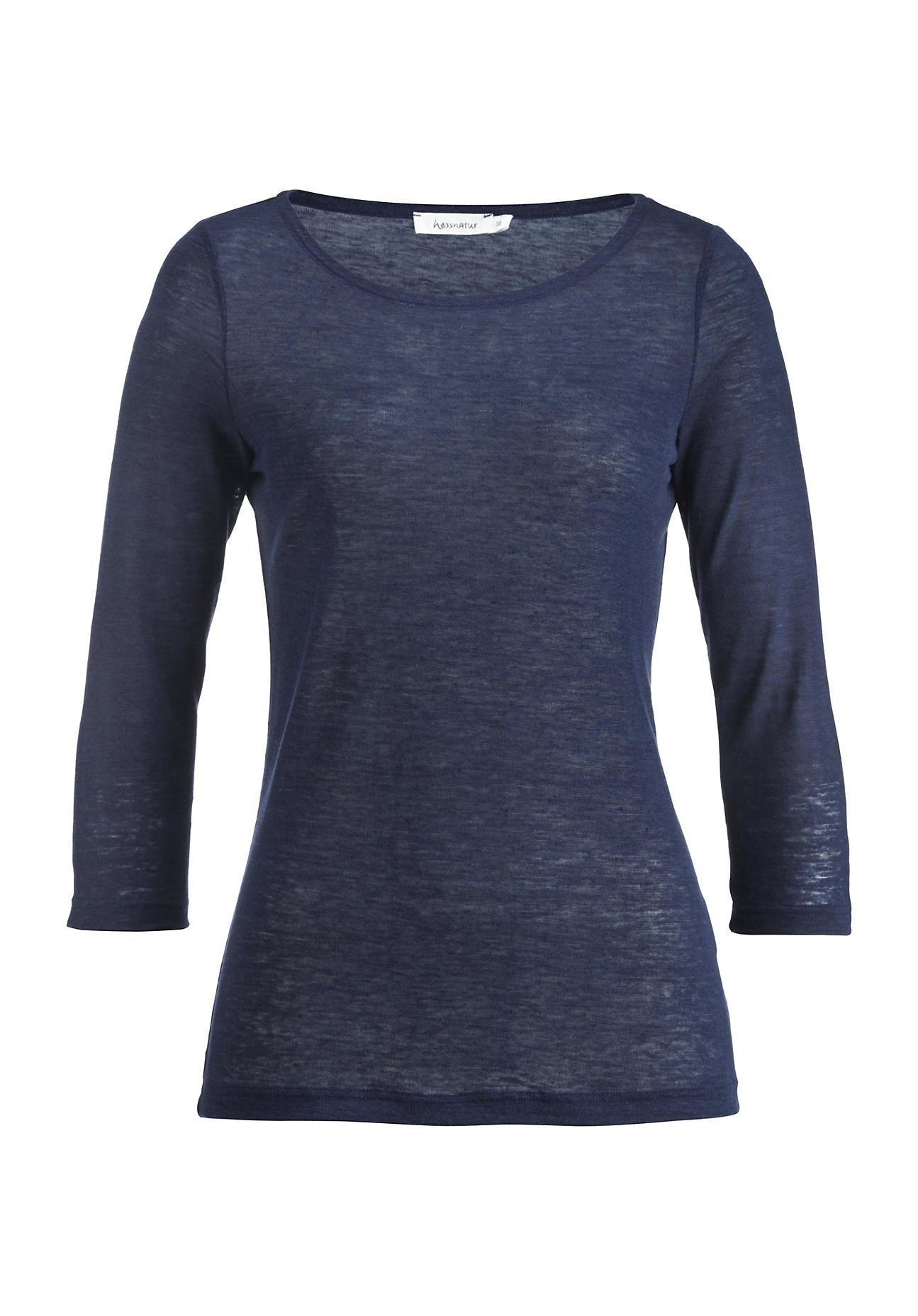 hessnatur Damen Shirt aus Bio-Hanf – blau – Größe 36