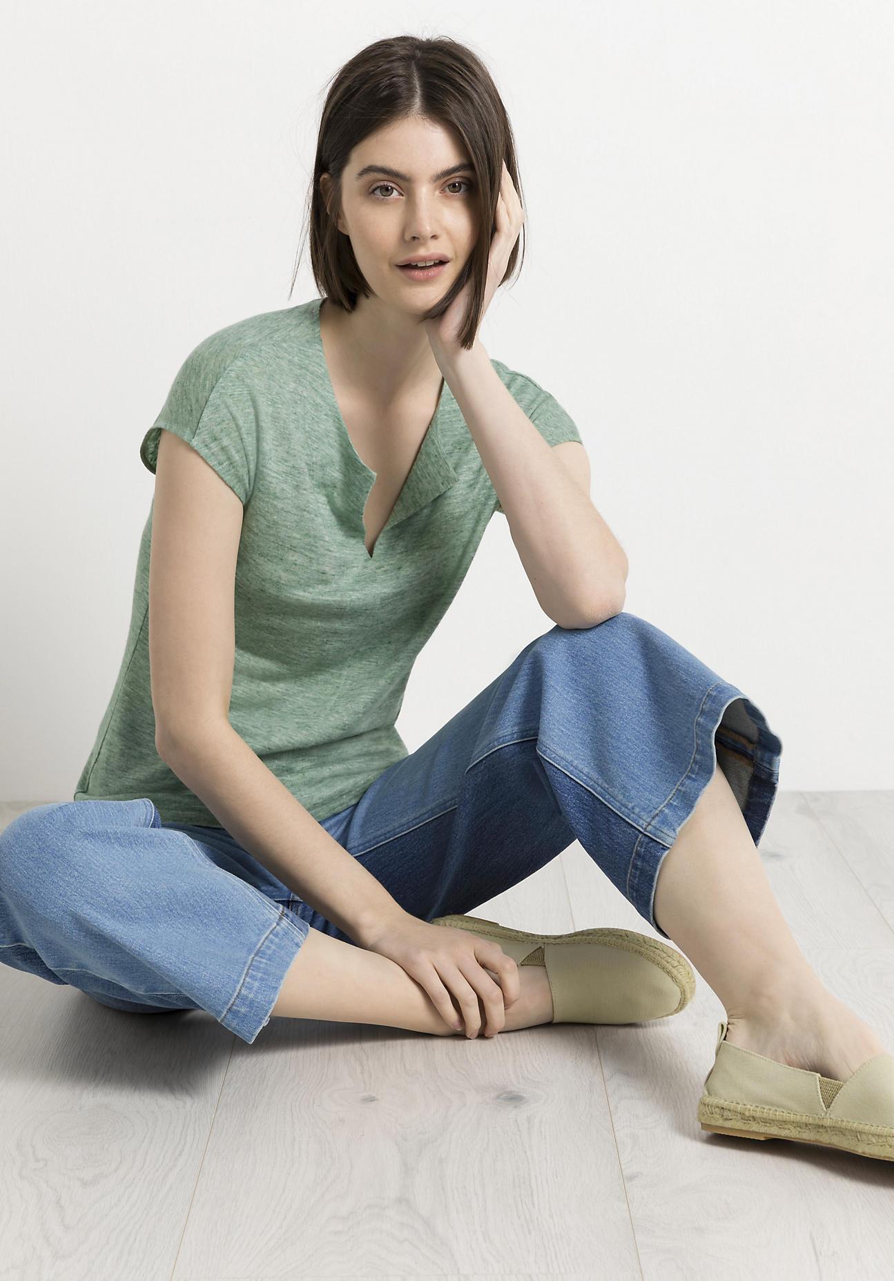 hessnatur Damen Shirt aus Leinen - grün Größe 40