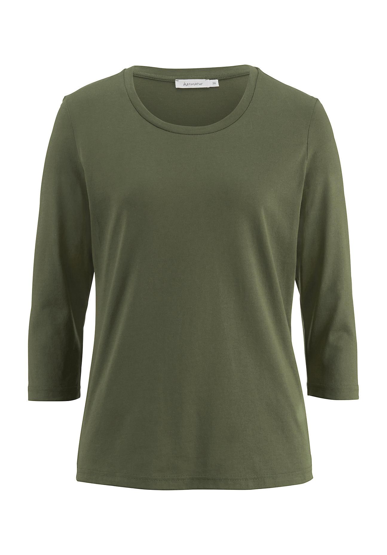 hessnatur -  Damen Shirt aus Bio-Baumwolle – grün – Größe 44