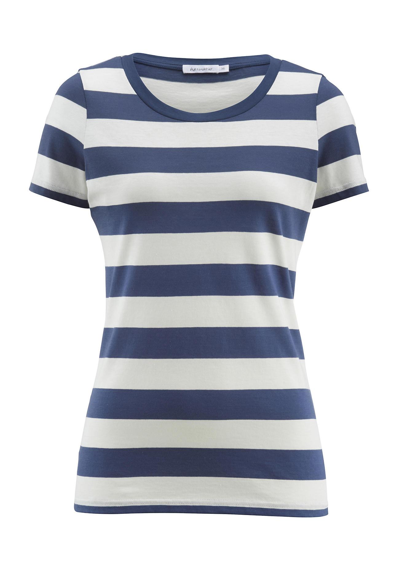 hessnatur Damen Shirt aus Bio Baumwolle – blau – Größe 38
