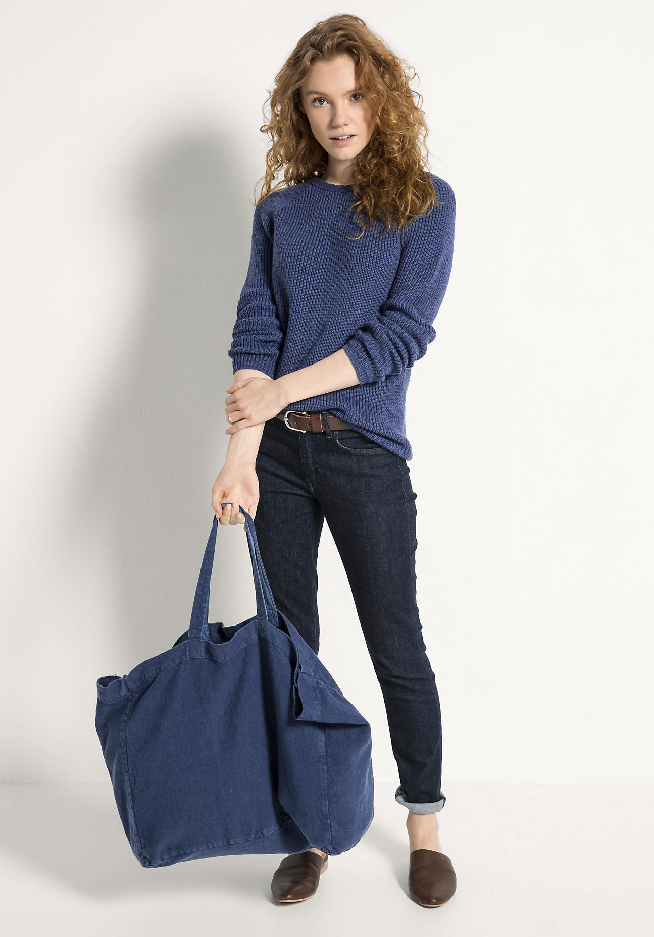 hessnatur Damen Shopper aus Hessenleinen - blau Größe 38x45 cm
