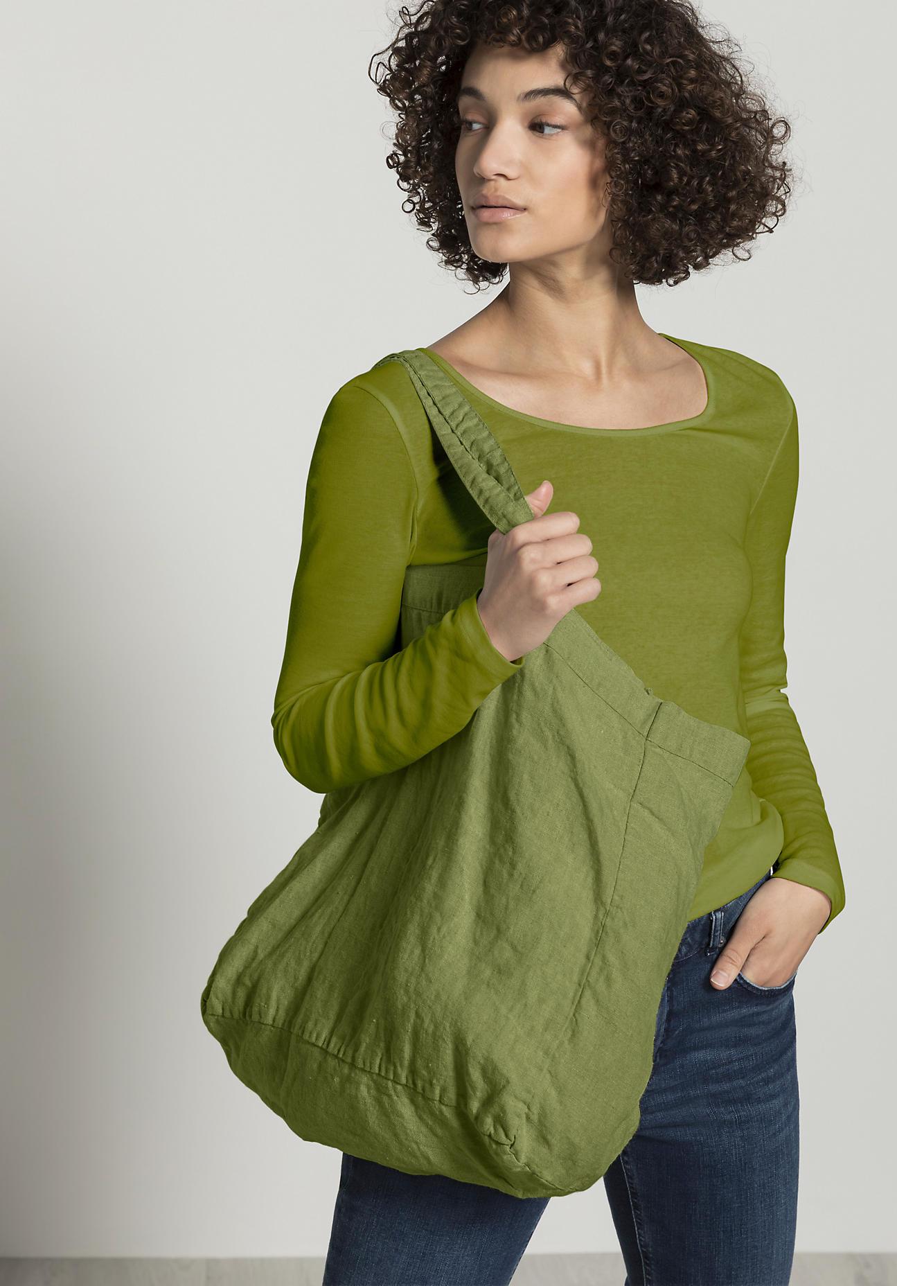 hessnatur Damen Shopper aus Leinen - grün Größe 45x38x18 cm