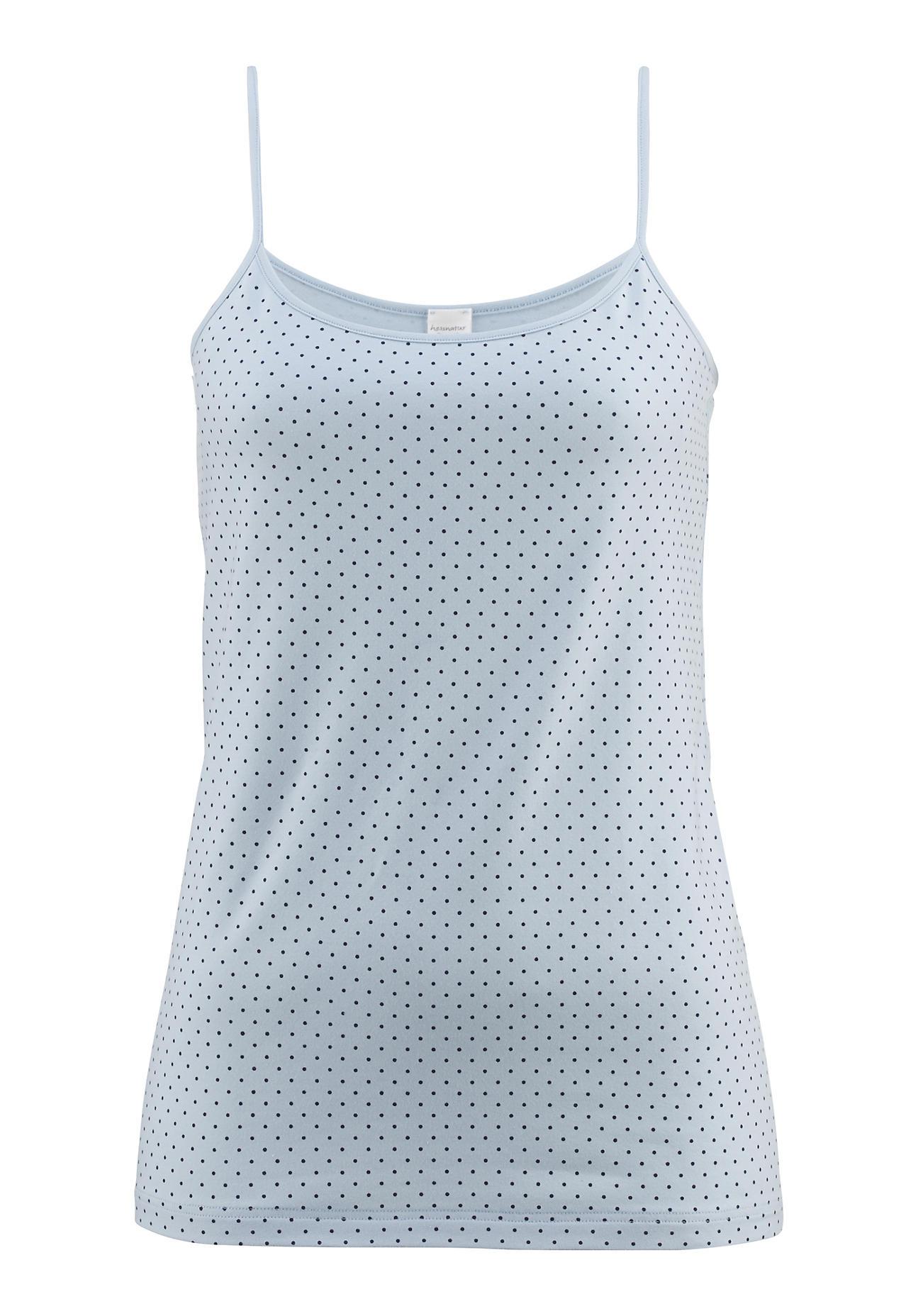 ef08d808646c76 hessnatur Damen Spaghetti-Shirt PureLUX aus Bio-Baumwolle – blau – Größe 46